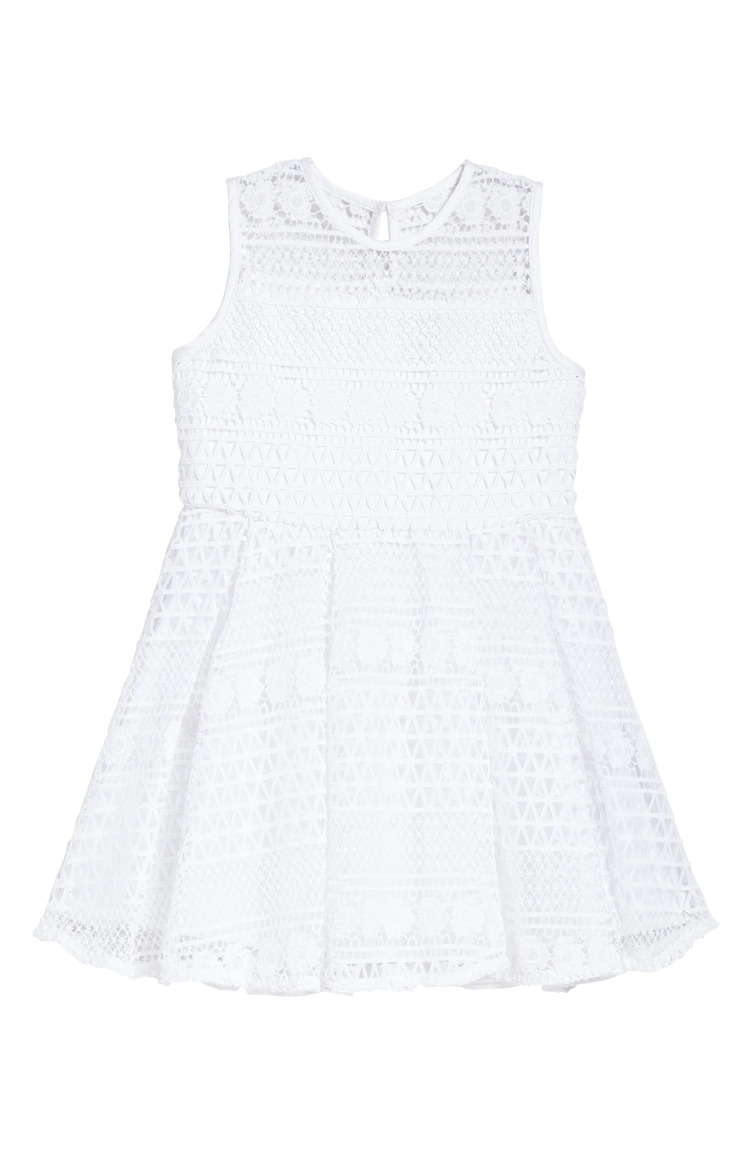 Linear Lace Dress,                         Main,                         color, Ivory