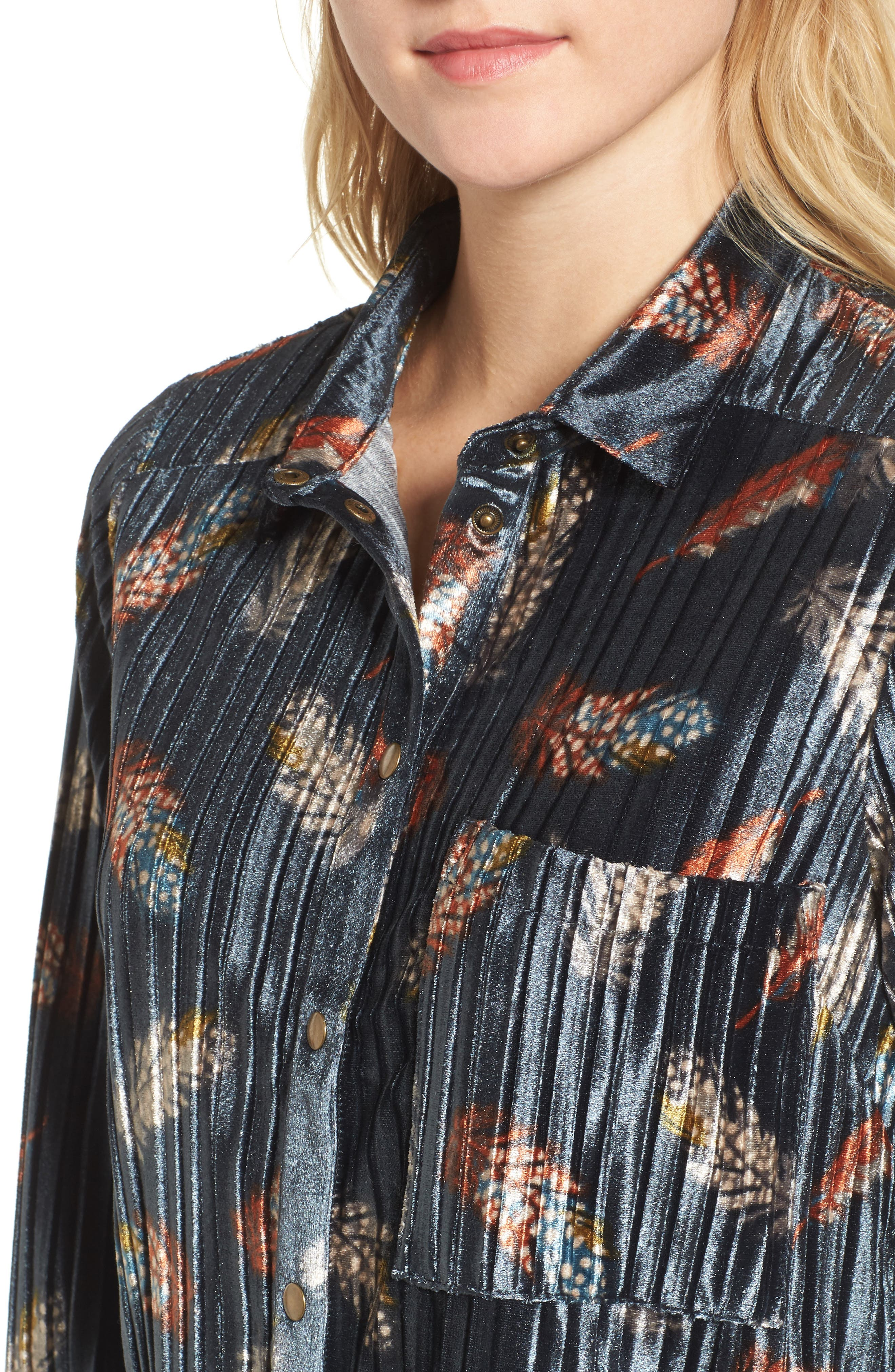 Bishop + Young Pleated Velvet Blouse,                             Alternate thumbnail 4, color,                             Print