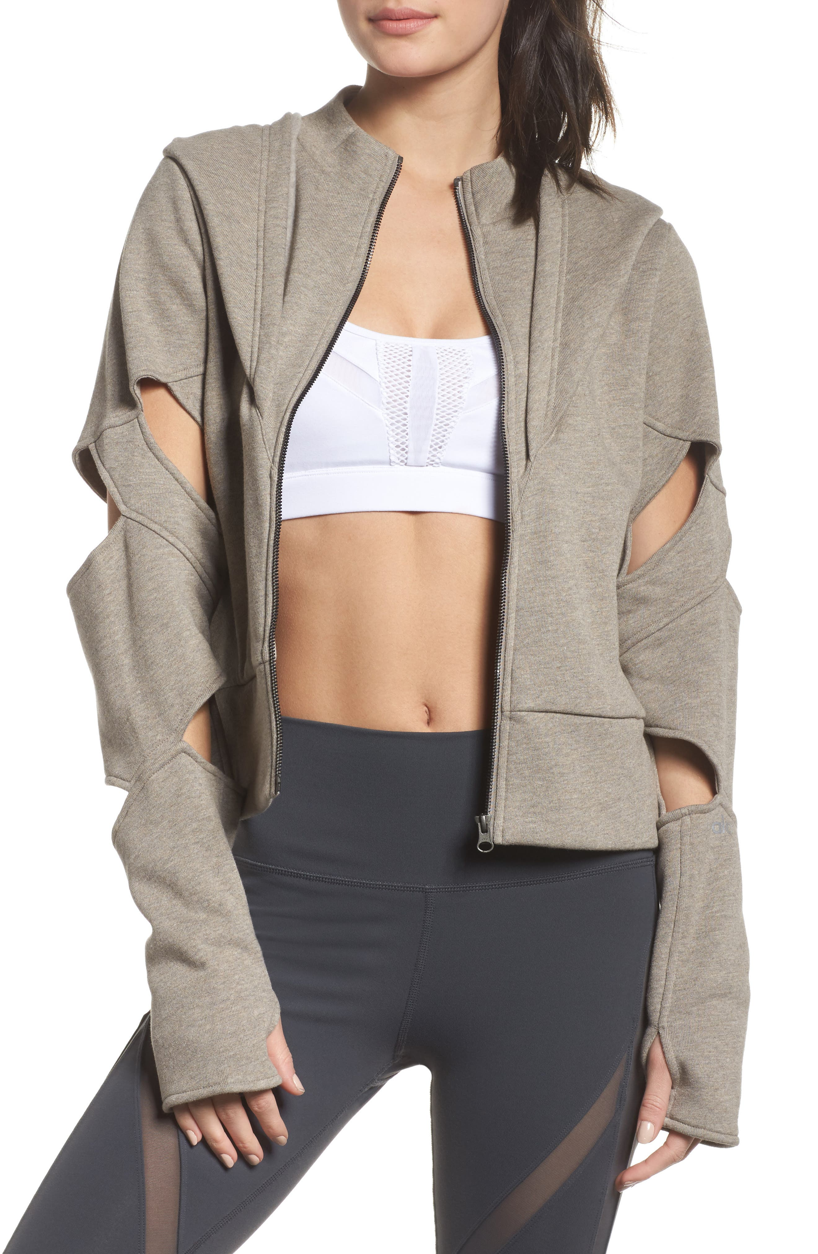 Mix Hooded Jacket,                         Main,                         color, Gravel Heather