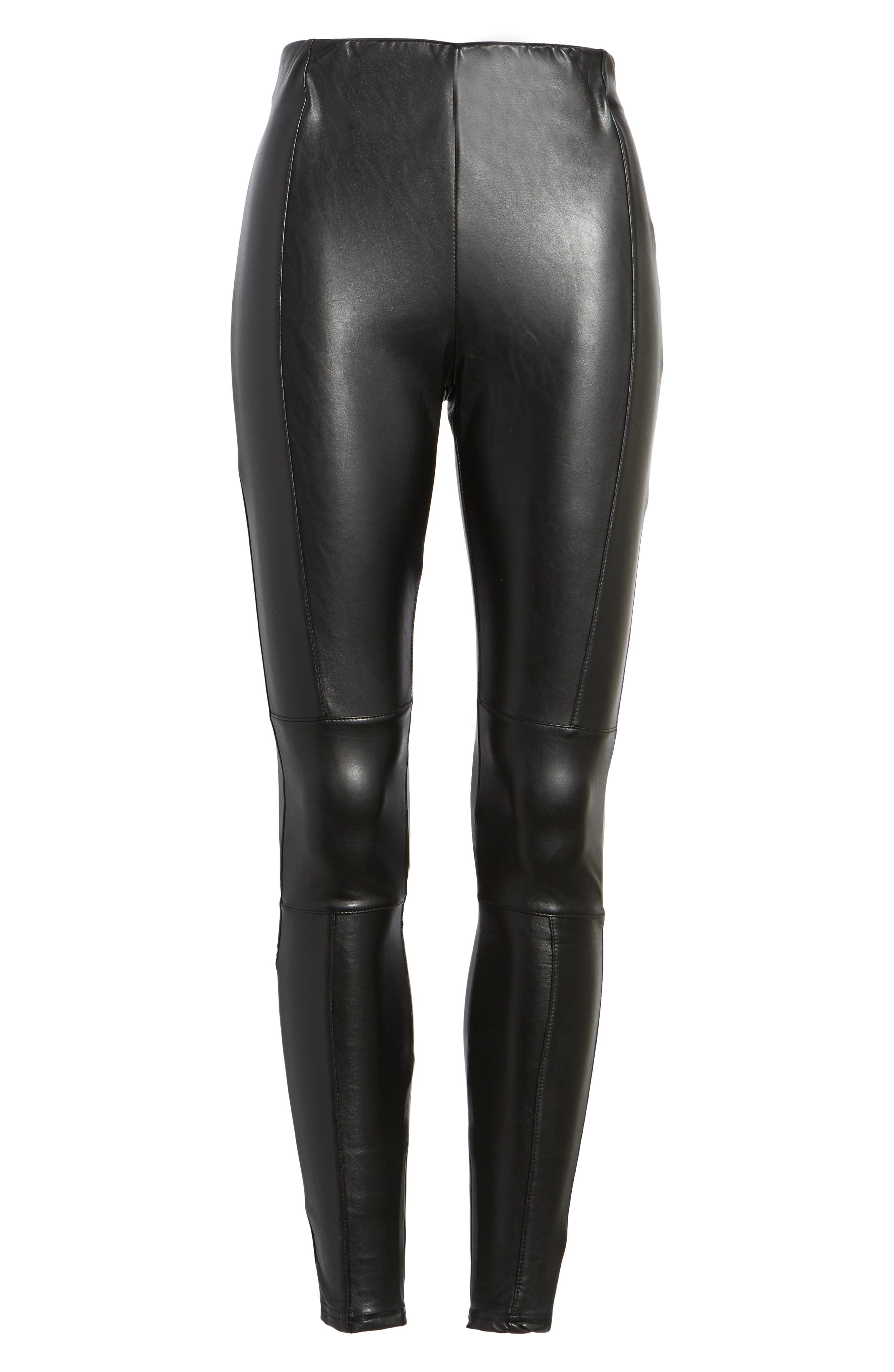 Bishop + Young Faux Leather Ankle Leggings,                             Alternate thumbnail 6, color,                             Black