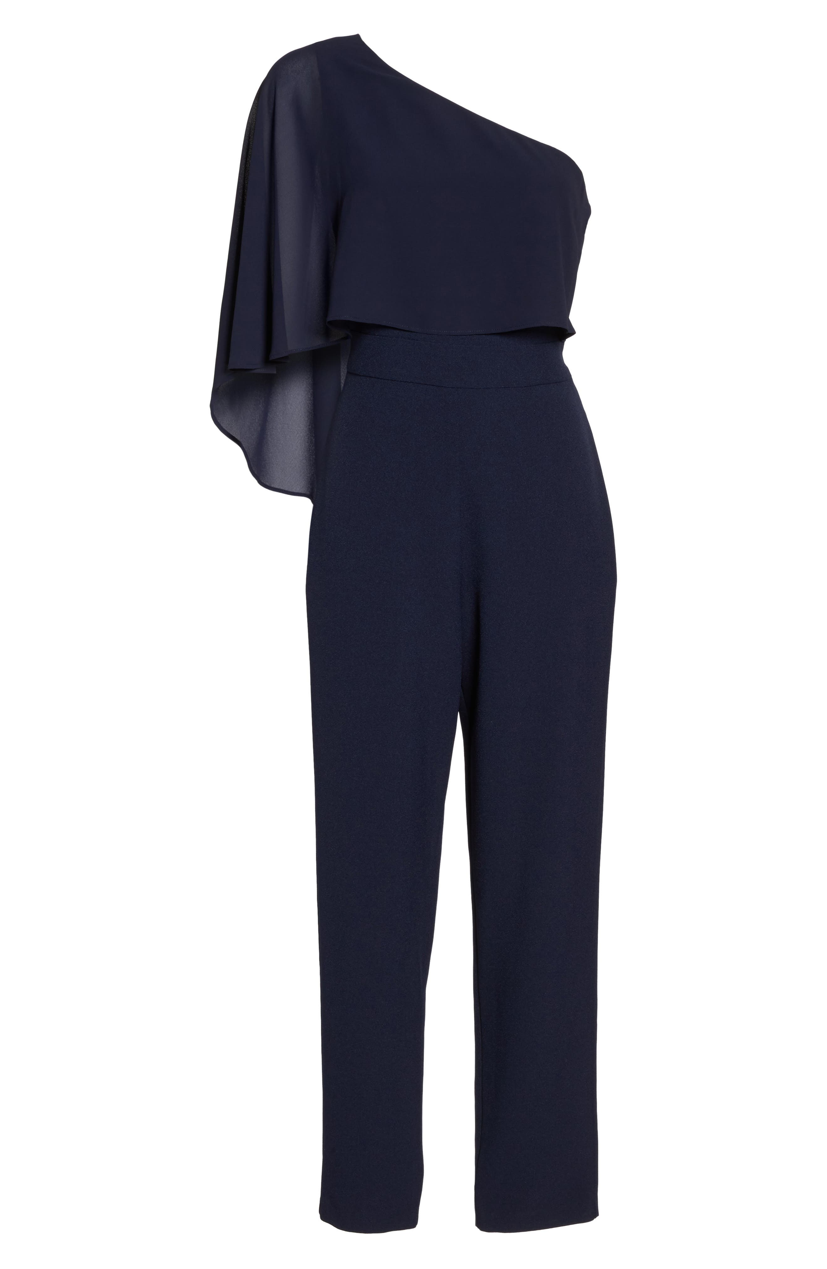 Cape Overlay One-Shoulder Jumpsuit,                             Alternate thumbnail 6, color,                             Navy