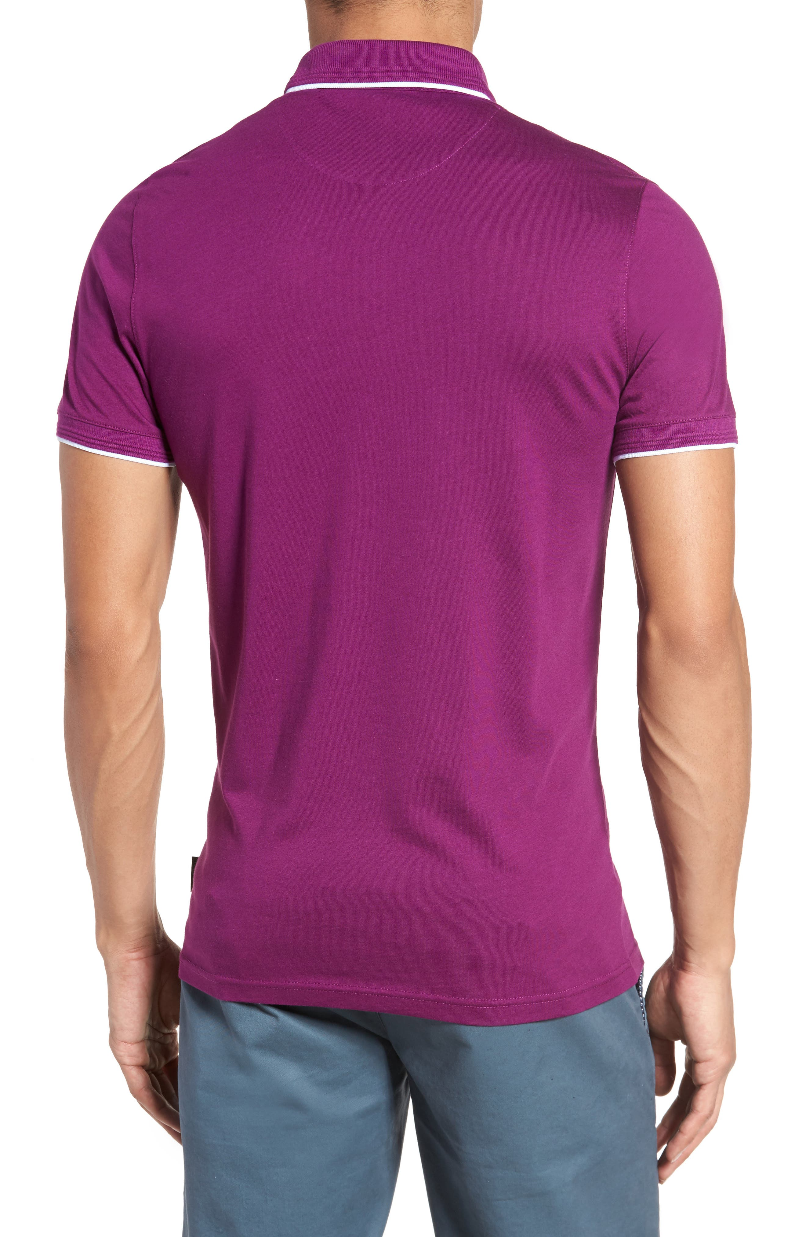 Derry Modern Slim Fit Polo,                             Alternate thumbnail 2, color,                             Deep Purple