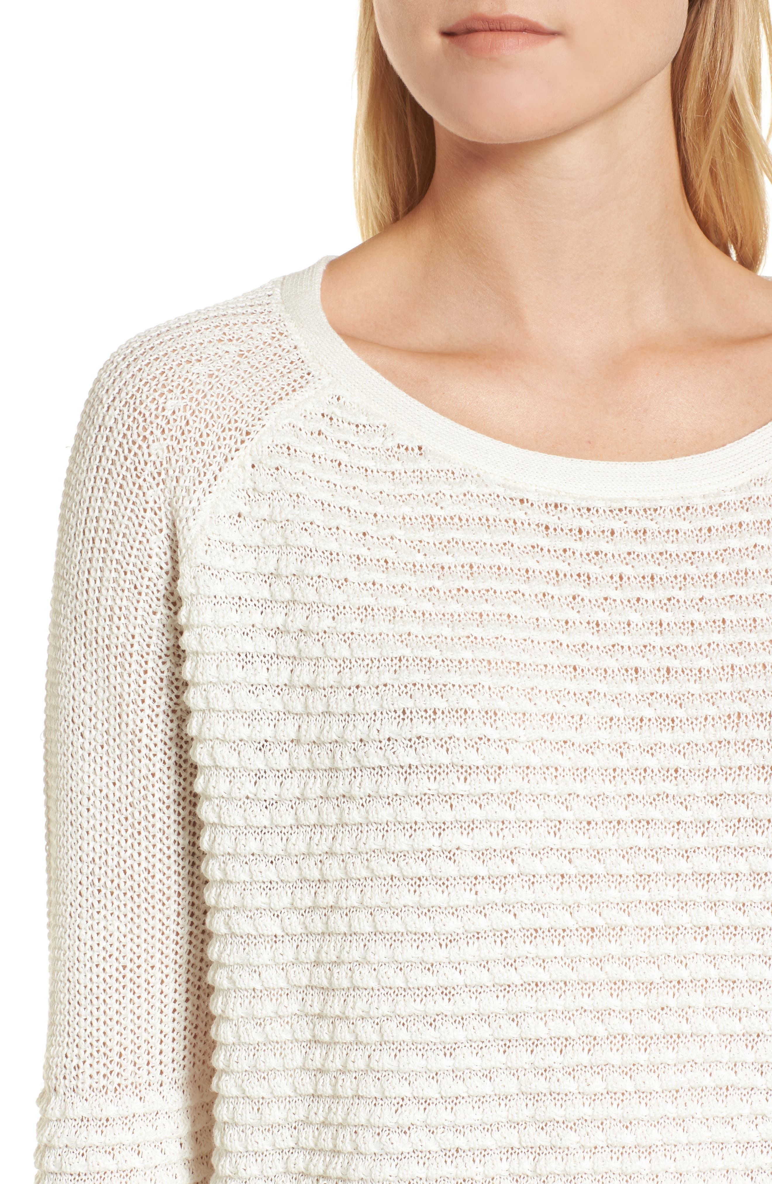 Mixed Stitch Sweater,                             Alternate thumbnail 4, color,                             Ivory Cloud