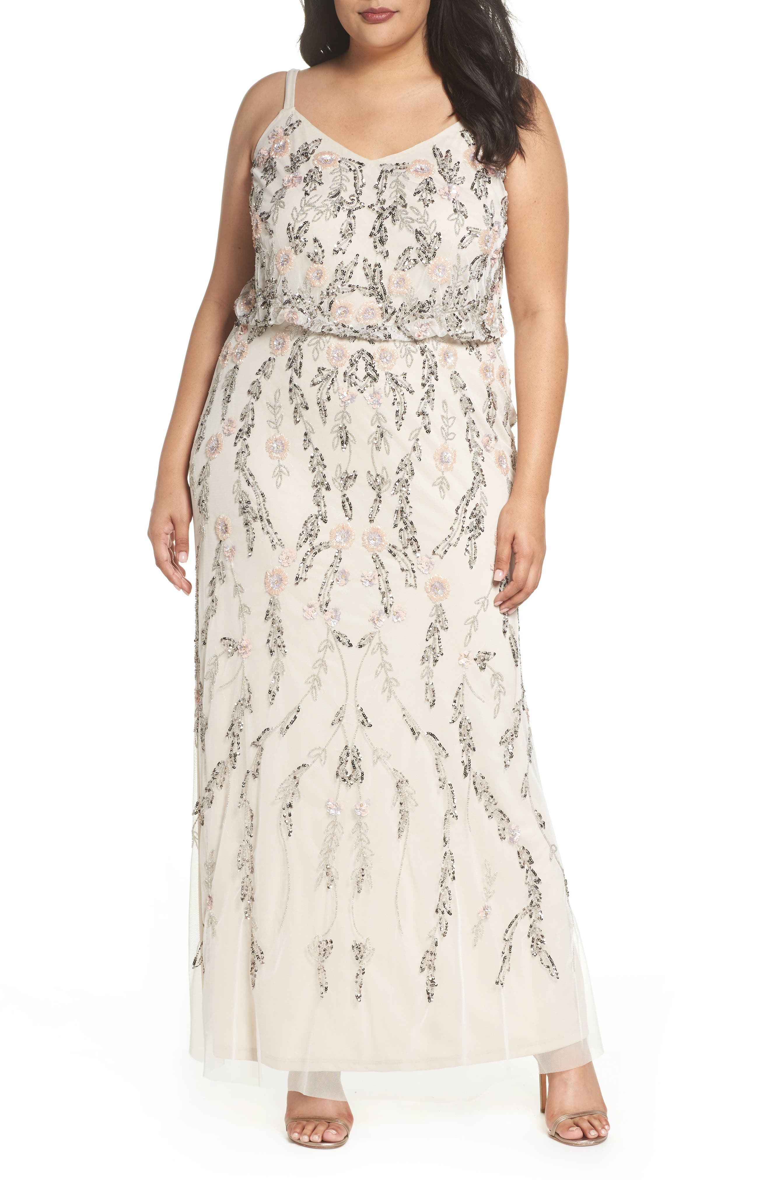 Beaded Blouson Gown,                         Main,                         color, Ivory Multi