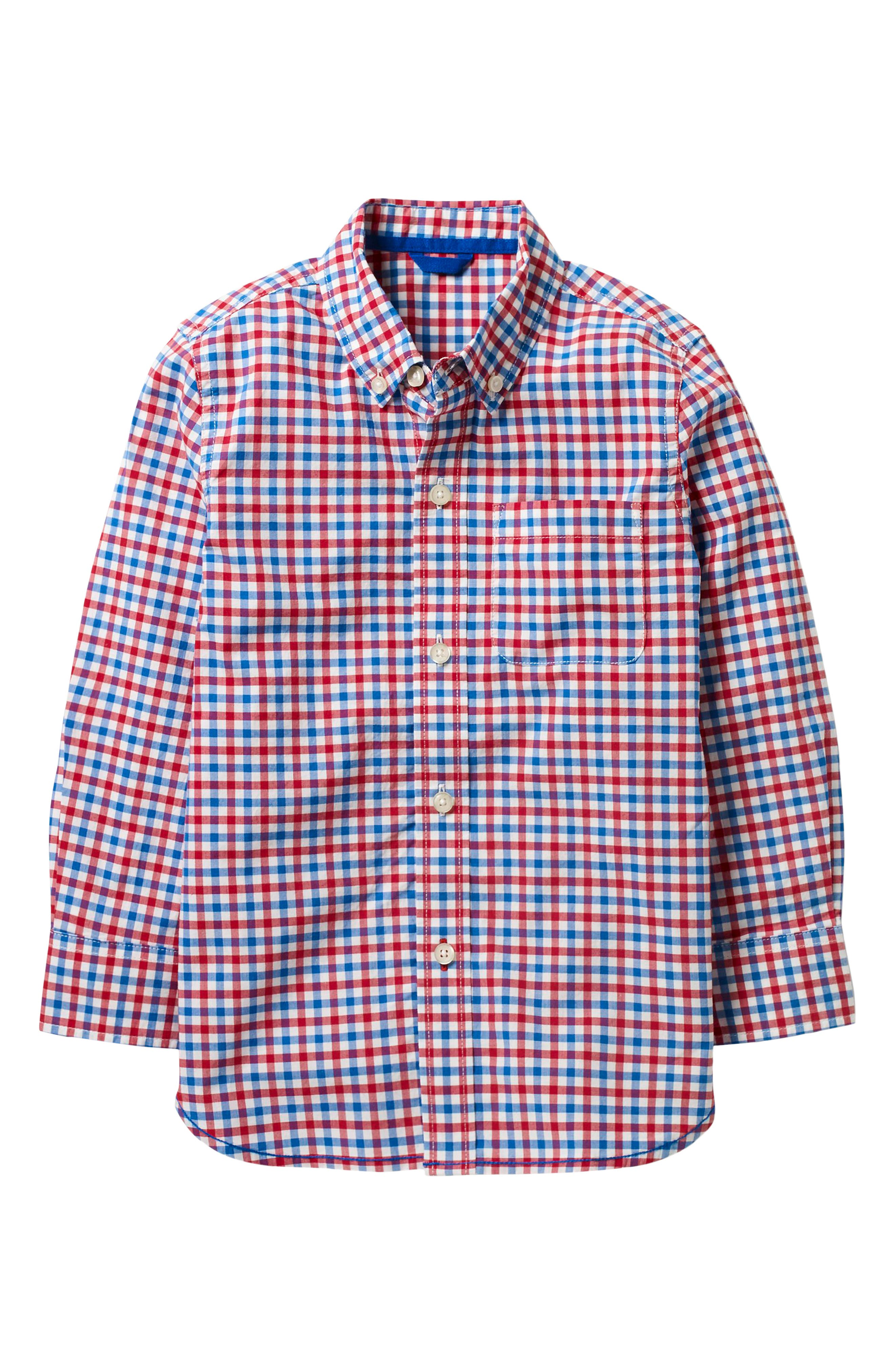 Laundered Gingham Woven Shirt,                             Main thumbnail 1, color,                             Soft Red/ Blue Multi-Gingham
