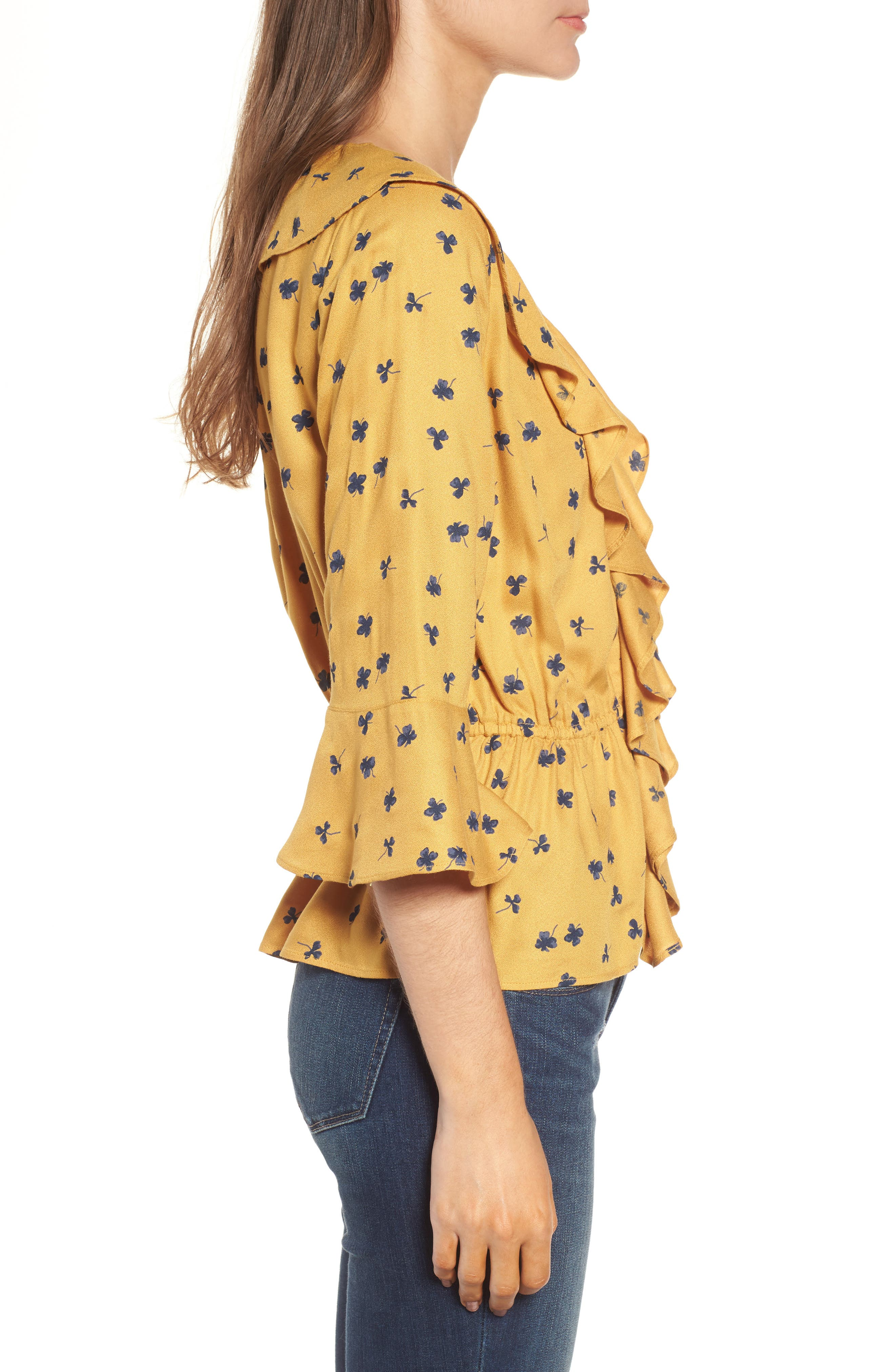 Print Cascade Ruffle Top,                             Alternate thumbnail 3, color,                             Yellow Mineral Lucky Clover