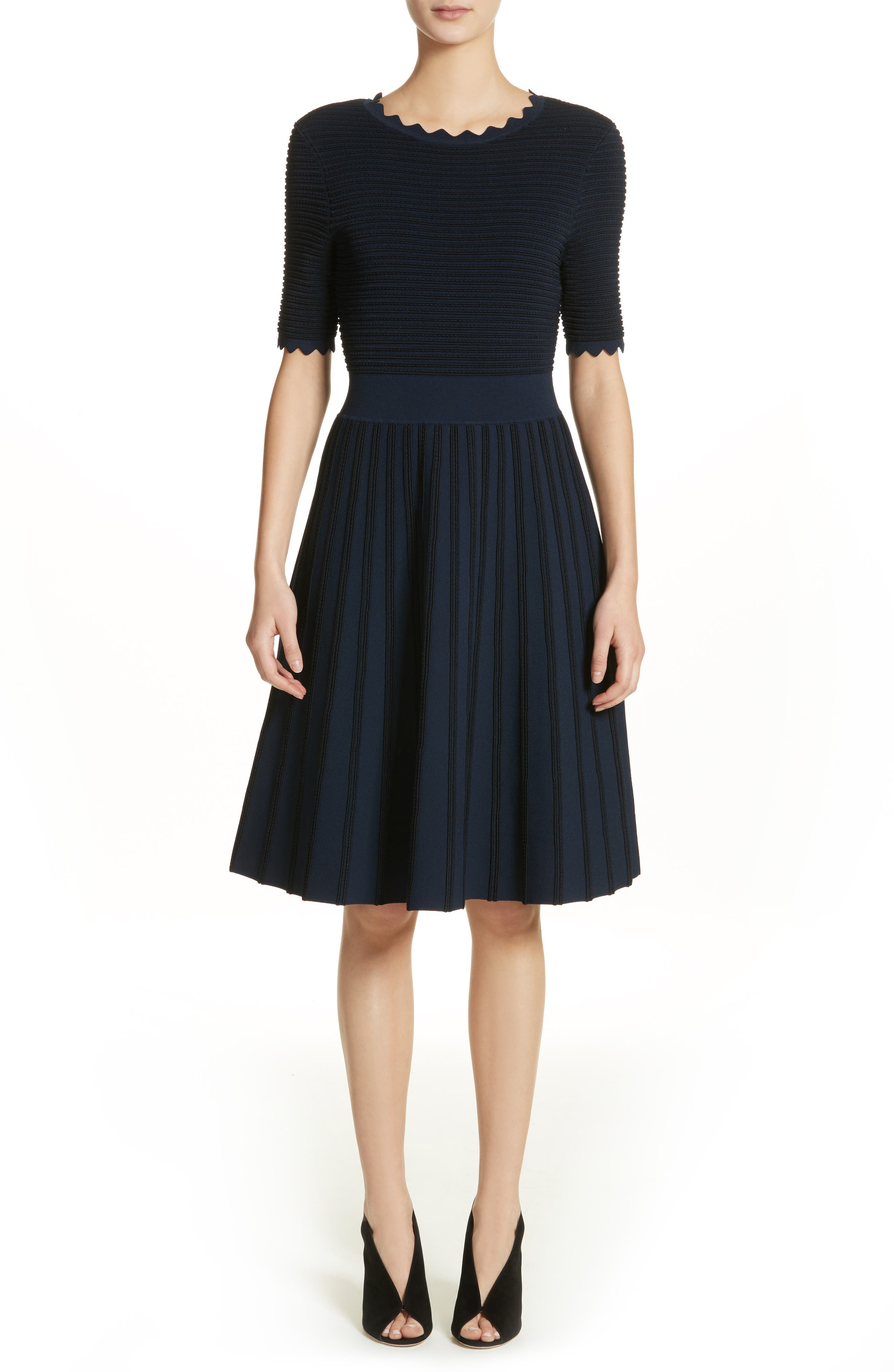 Lela Rose Scallop Trim Stripe Dress