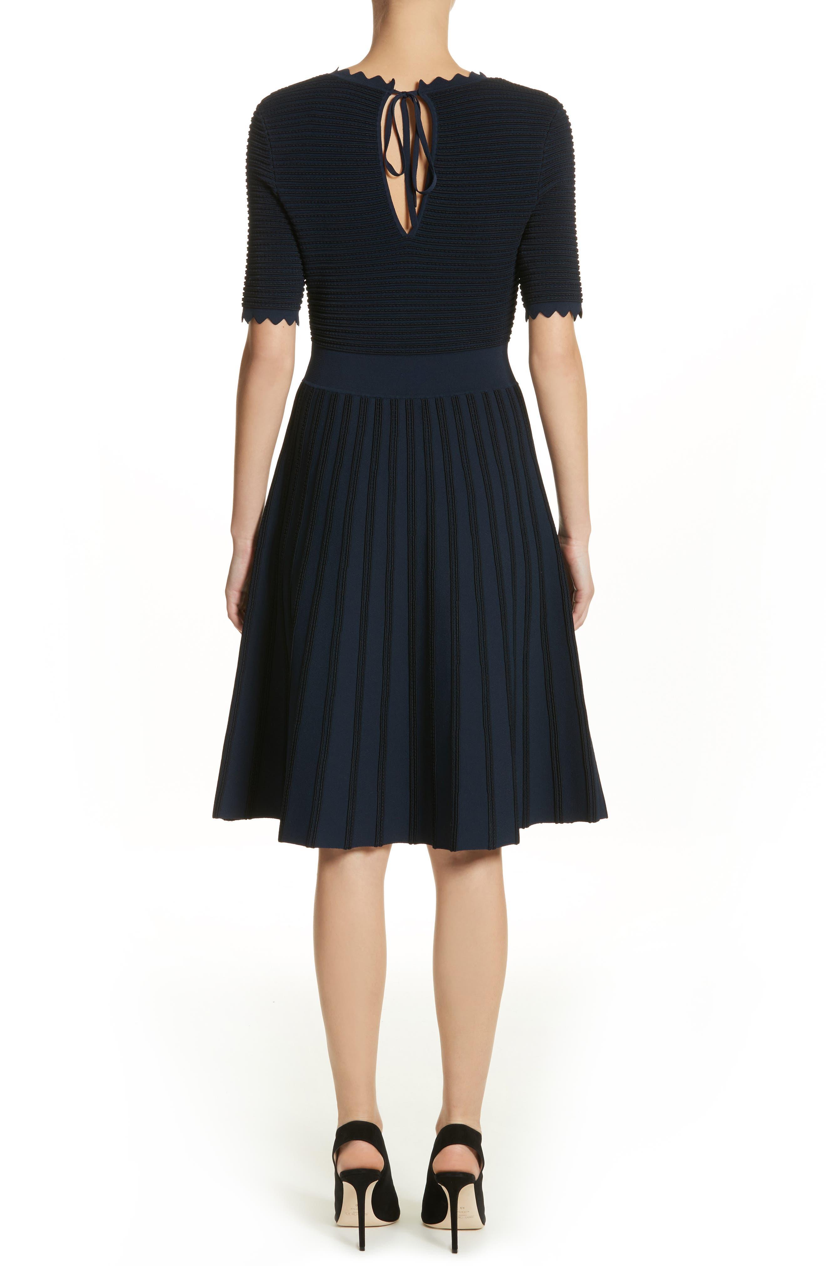 Scallop Trim Stripe Dress,                             Alternate thumbnail 3, color,                             Navy