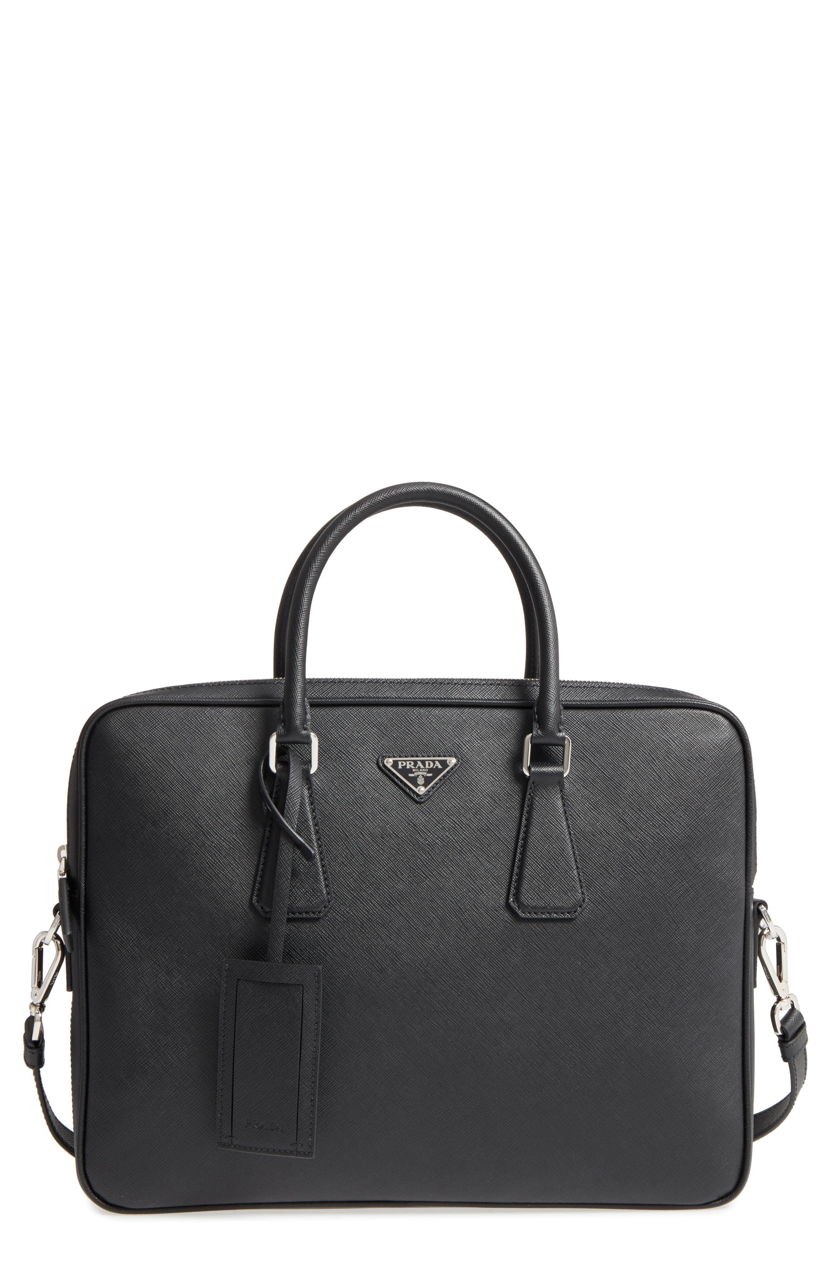 Saffiano Leather Briefcase,                             Main thumbnail 1, color,                             Black