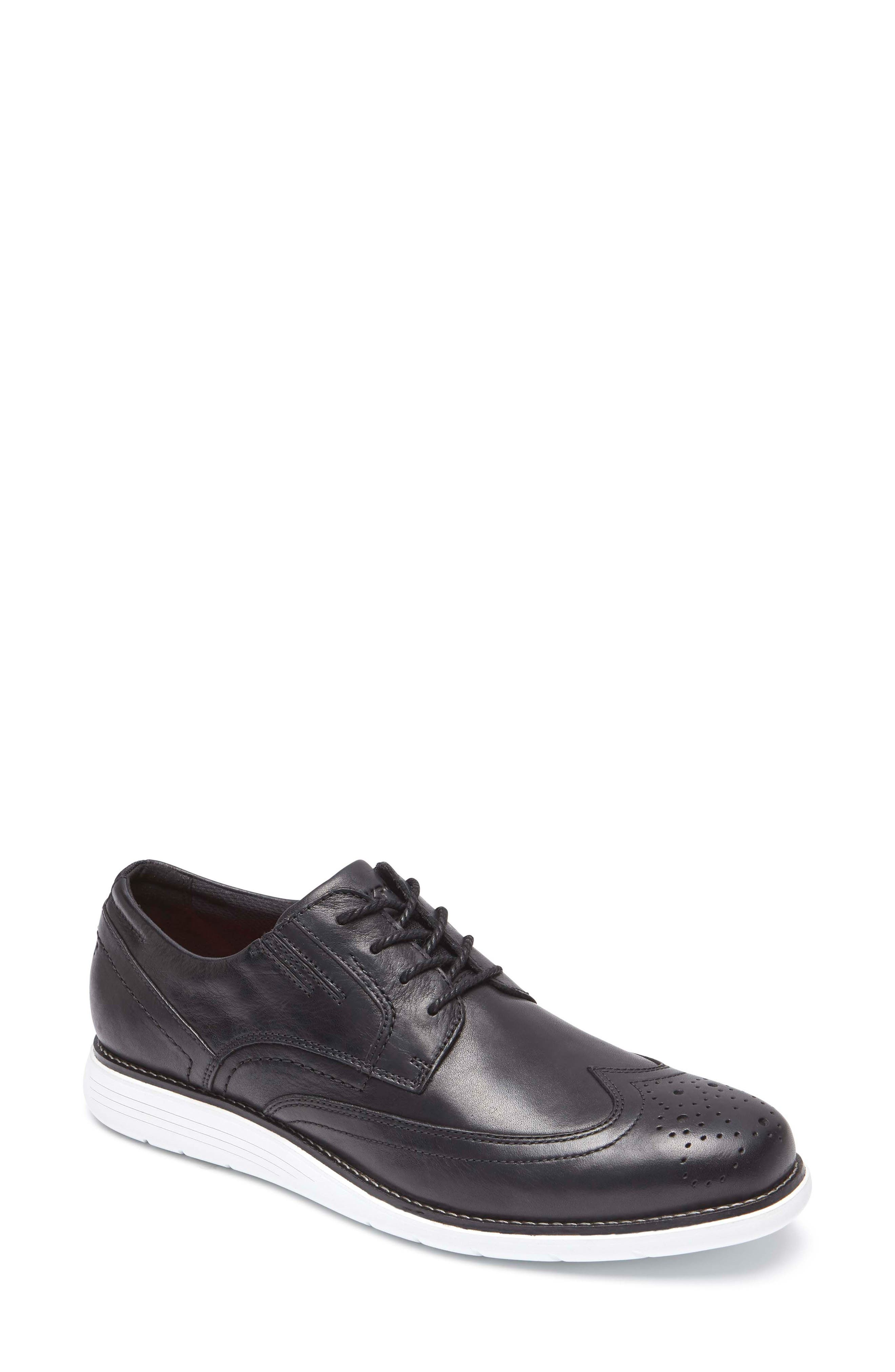 Total Motion Sport Wingtip,                             Main thumbnail 1, color,                             Black Leather