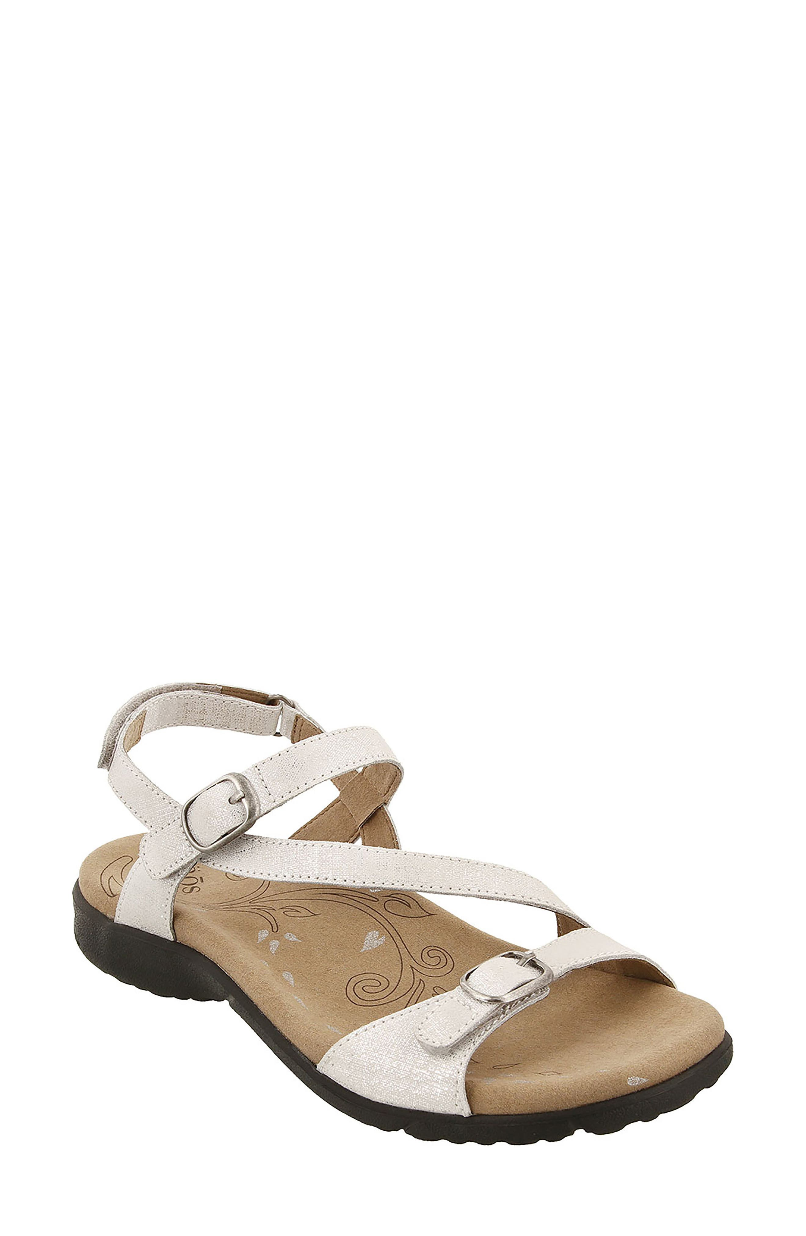 Beauty Sandal,                             Main thumbnail 1, color,                             White Metallic Leather