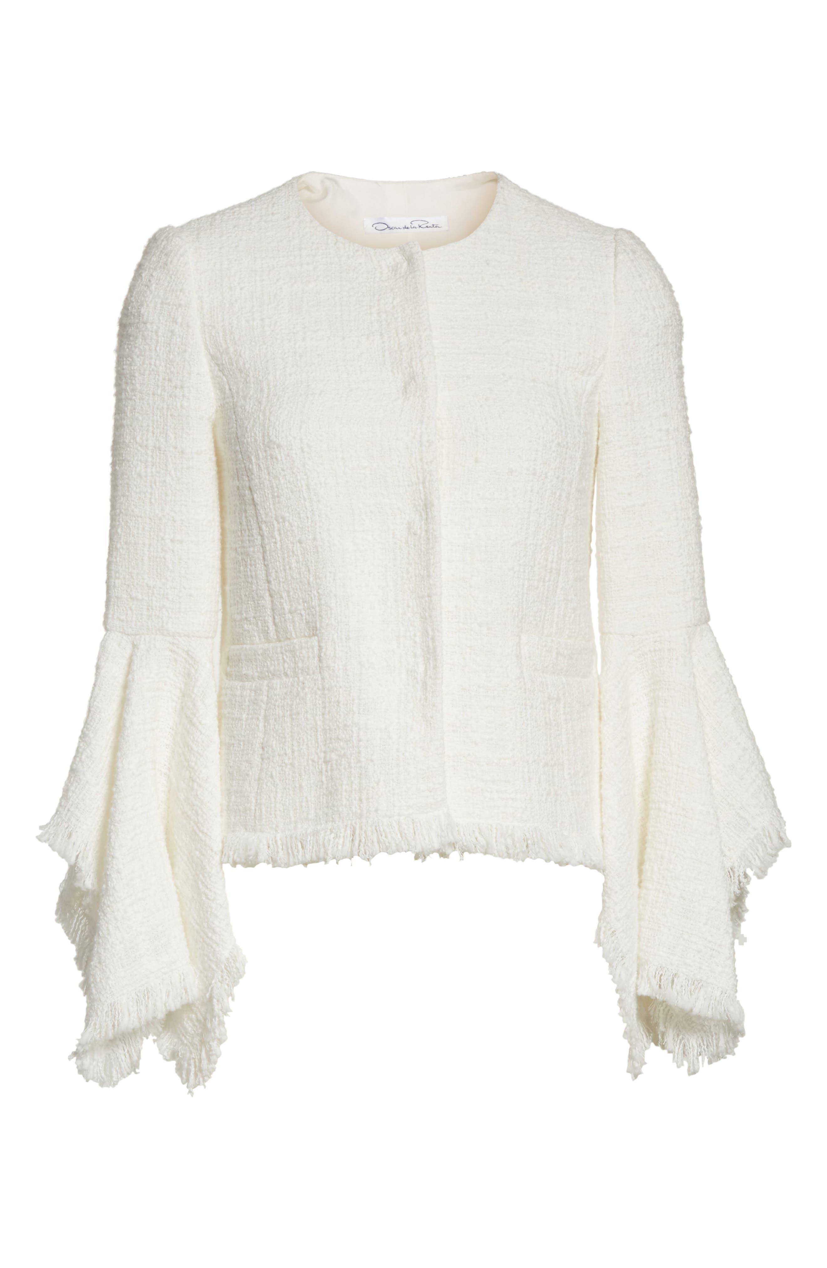 Ribbon Tweed Cascade Cuff Jacket,                             Alternate thumbnail 7, color,                             Ivory