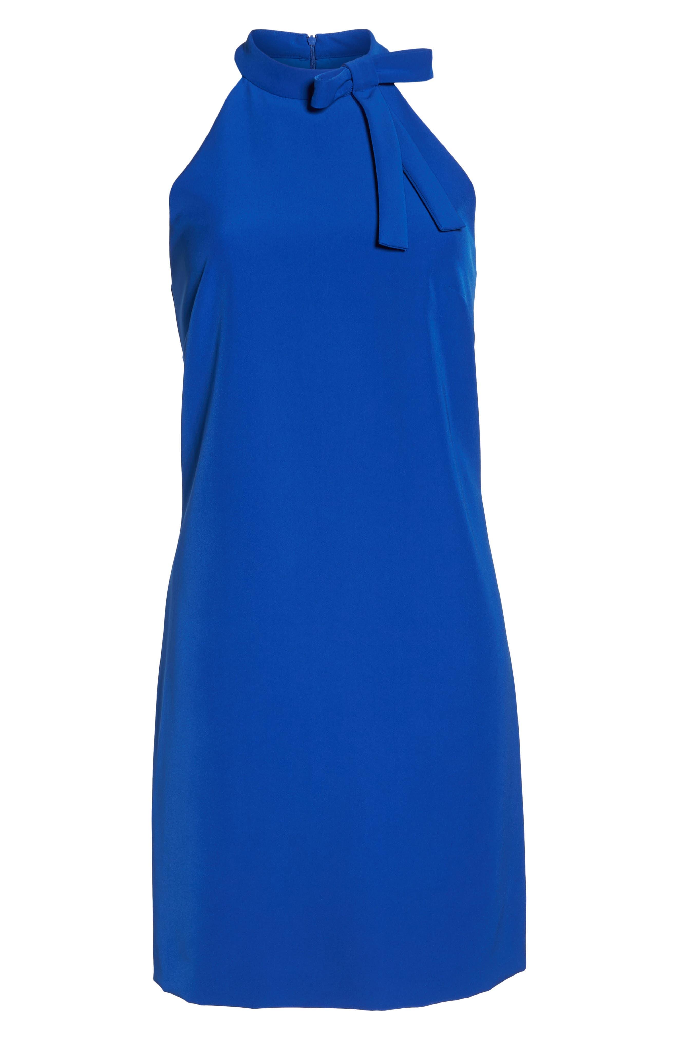 Scuba Shift Dress,                             Alternate thumbnail 6, color,                             Patriot Blue