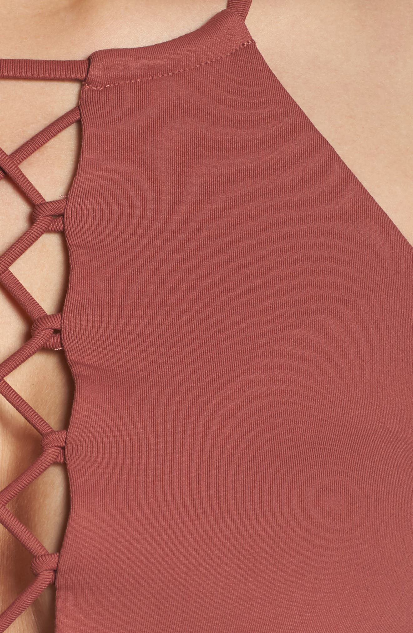 Starlet Lace-Up Bra,                             Alternate thumbnail 6, color,                             Earth