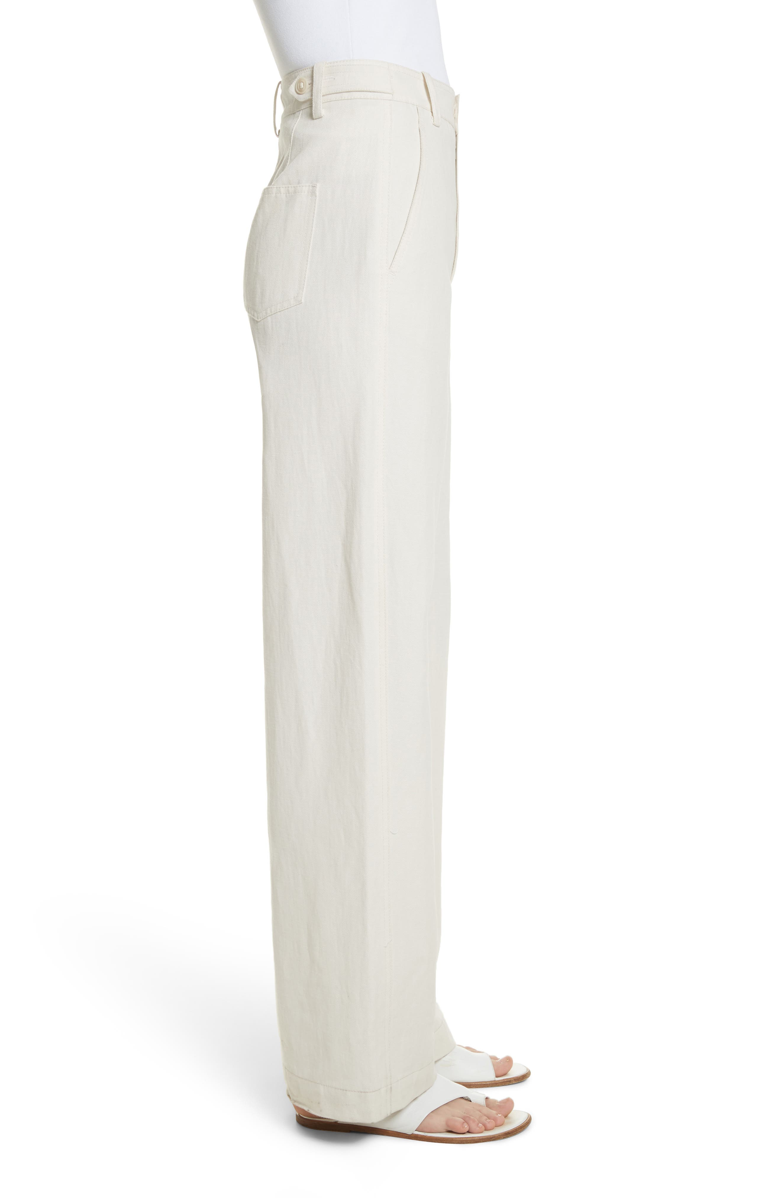 High Rise Linen Blend Wide Leg Pants,                             Alternate thumbnail 4, color,                             Gardenia