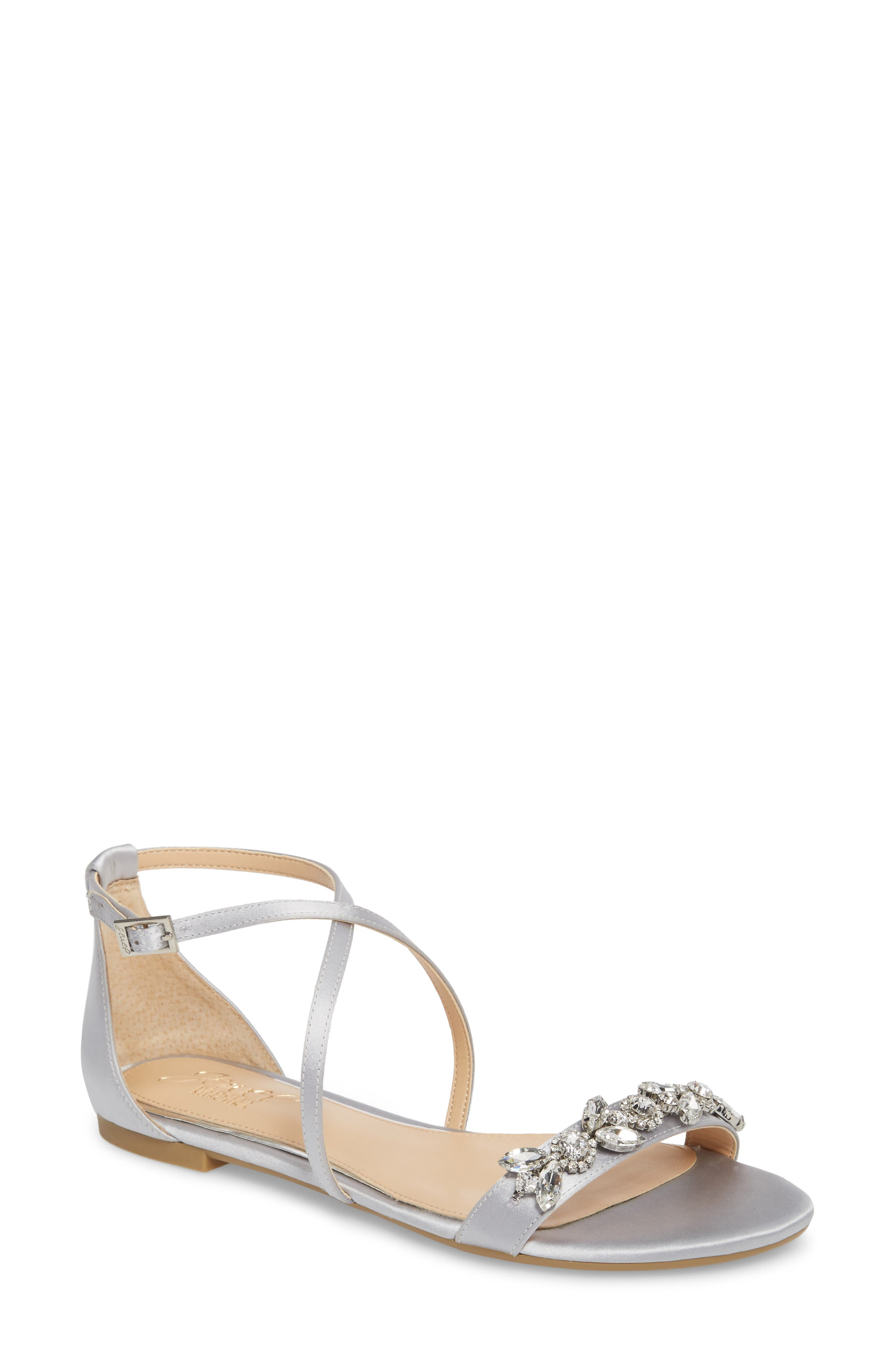 Tessy Embellished Sandal,                             Main thumbnail 1, color,                             Silver Satin