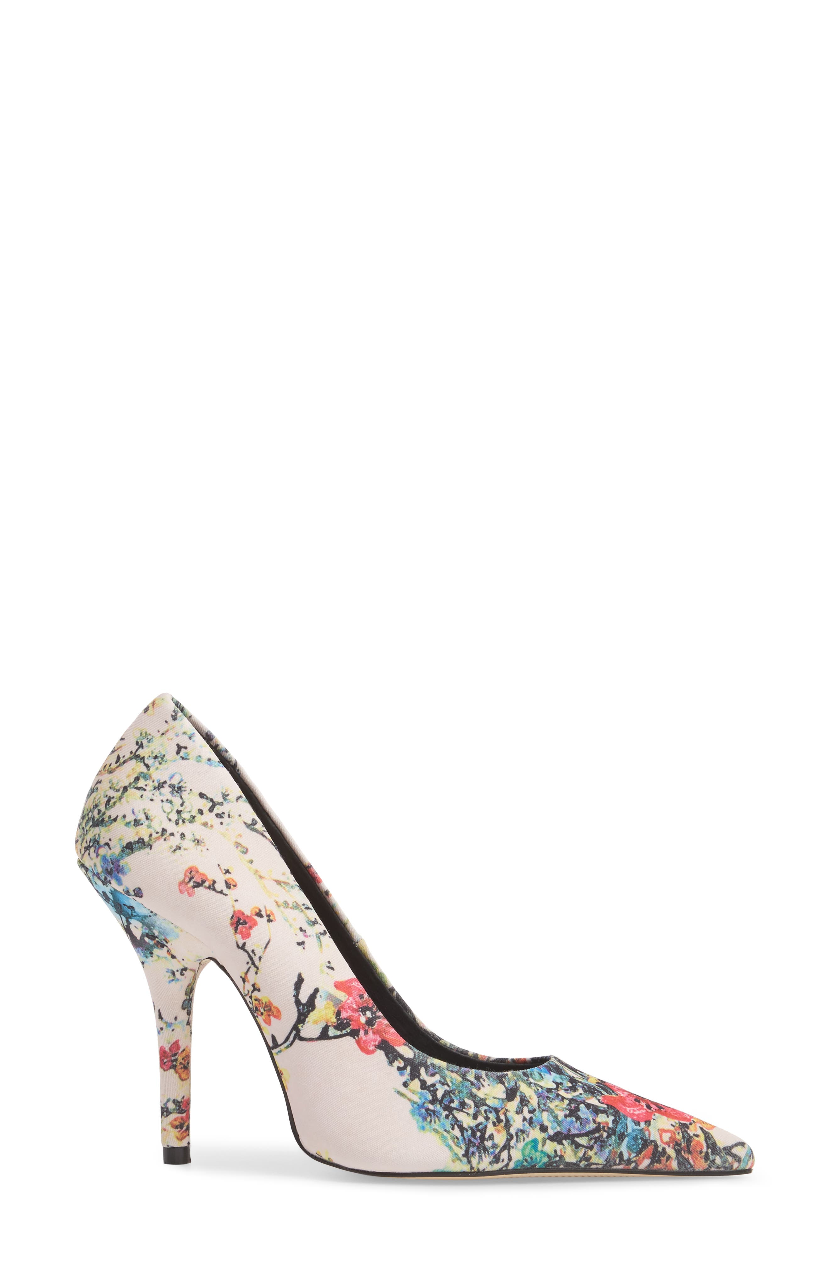 Heather Pointy Toe Pump,                             Alternate thumbnail 3, color,                             Pink Flower Fabric