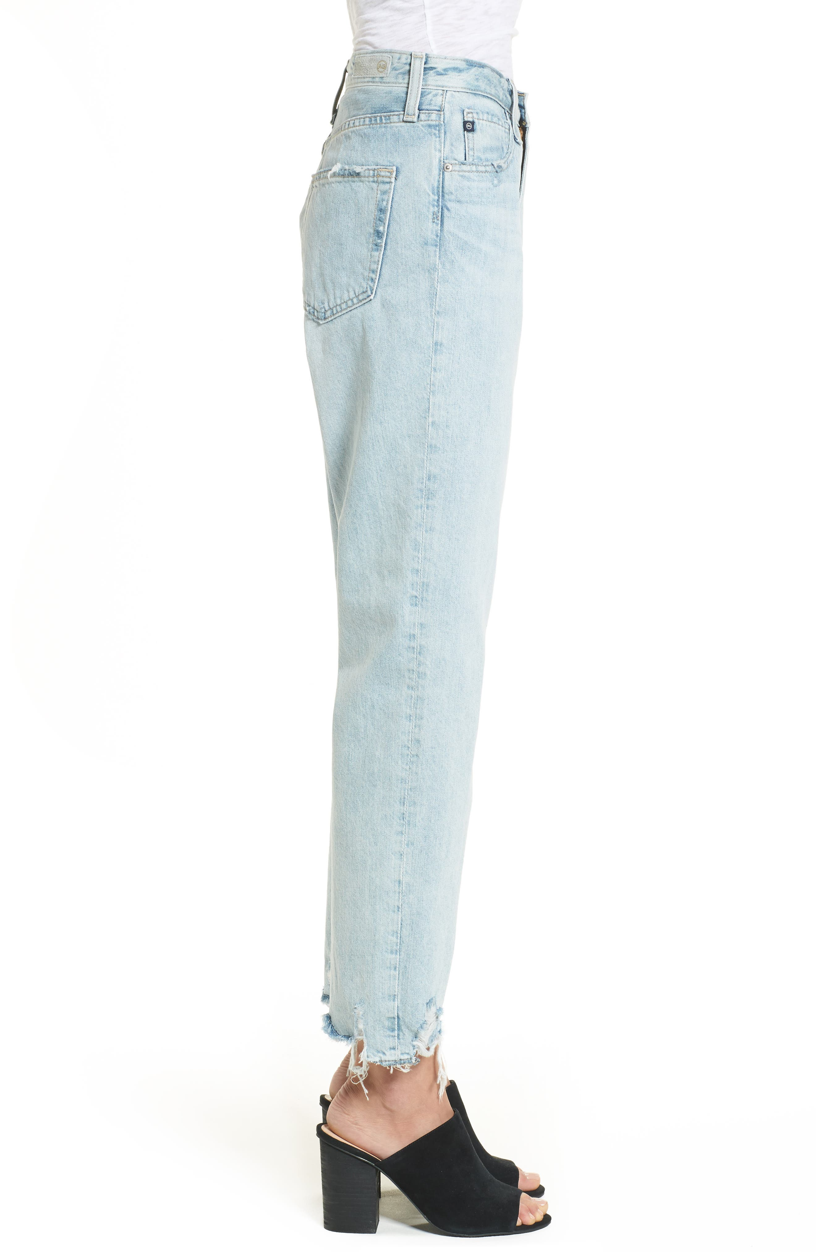 The Phoebe High Rise Straight Leg Jeans,                             Alternate thumbnail 4, color,                             Bering Wave