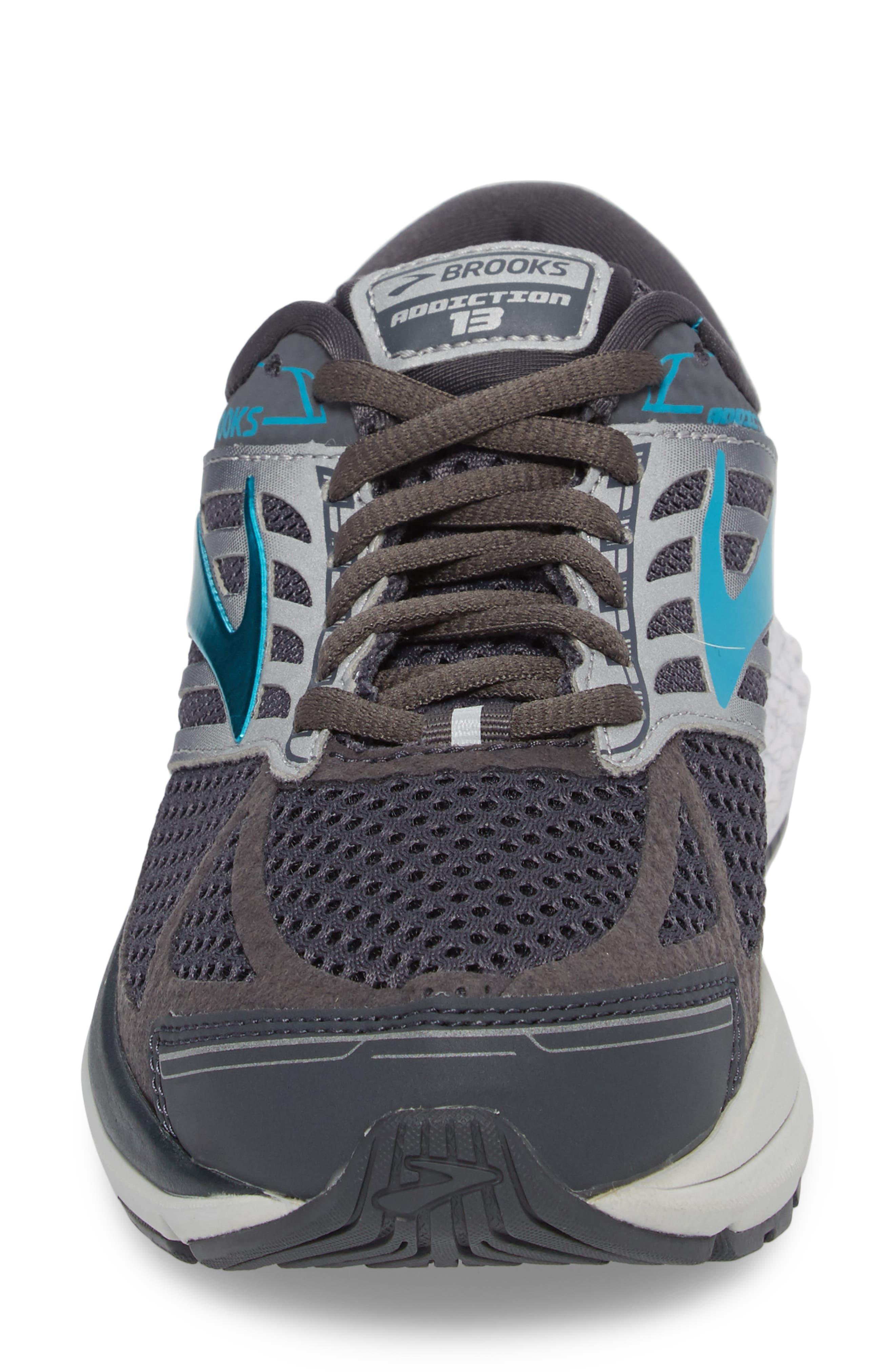 Addiction 13 Running Shoe,                             Alternate thumbnail 4, color,                             Ebony/ Silver/ Pagoda Blue