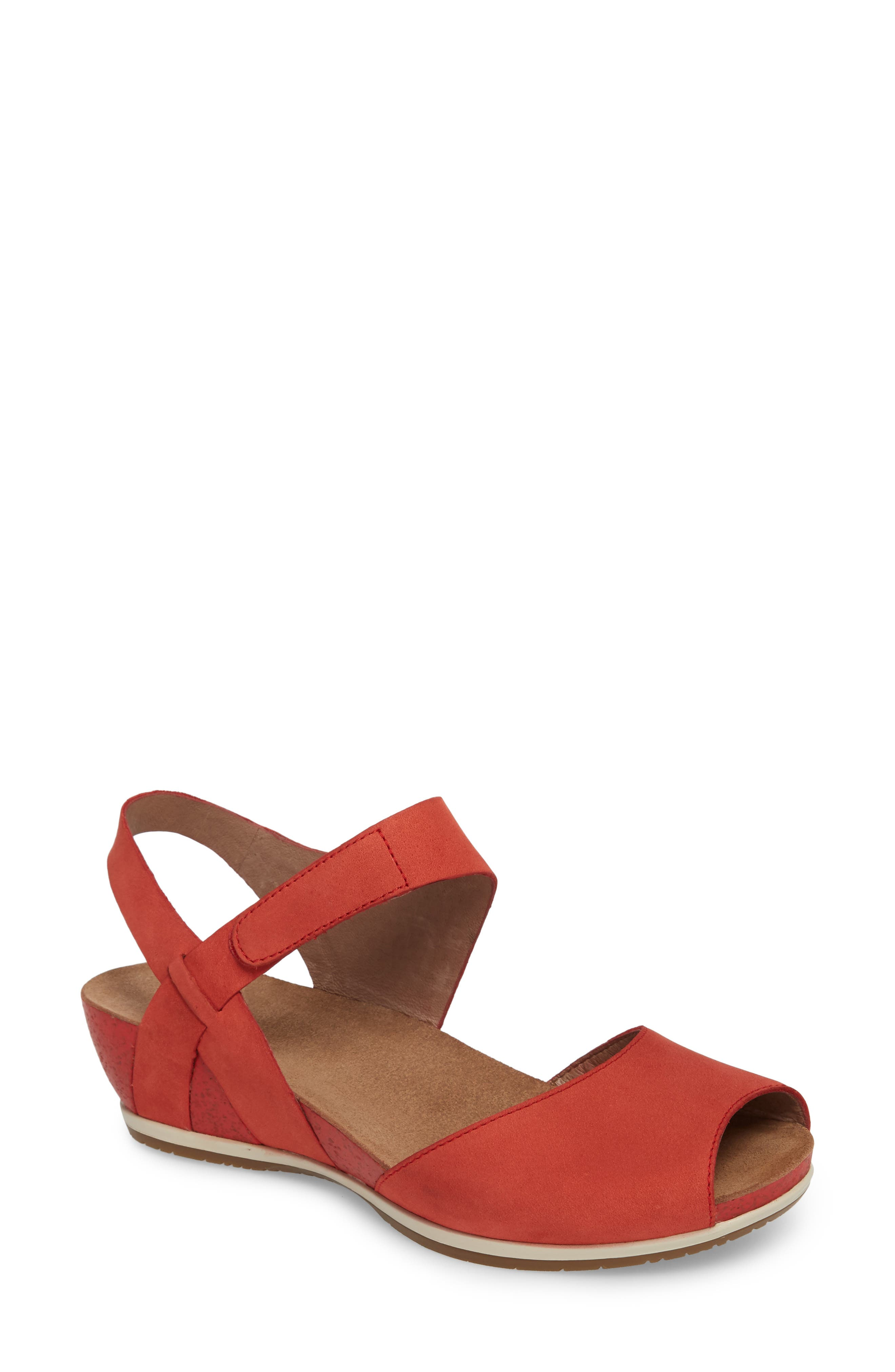 Vera Sandal,                         Main,                         color, Tomato Milled Nubuck Leather