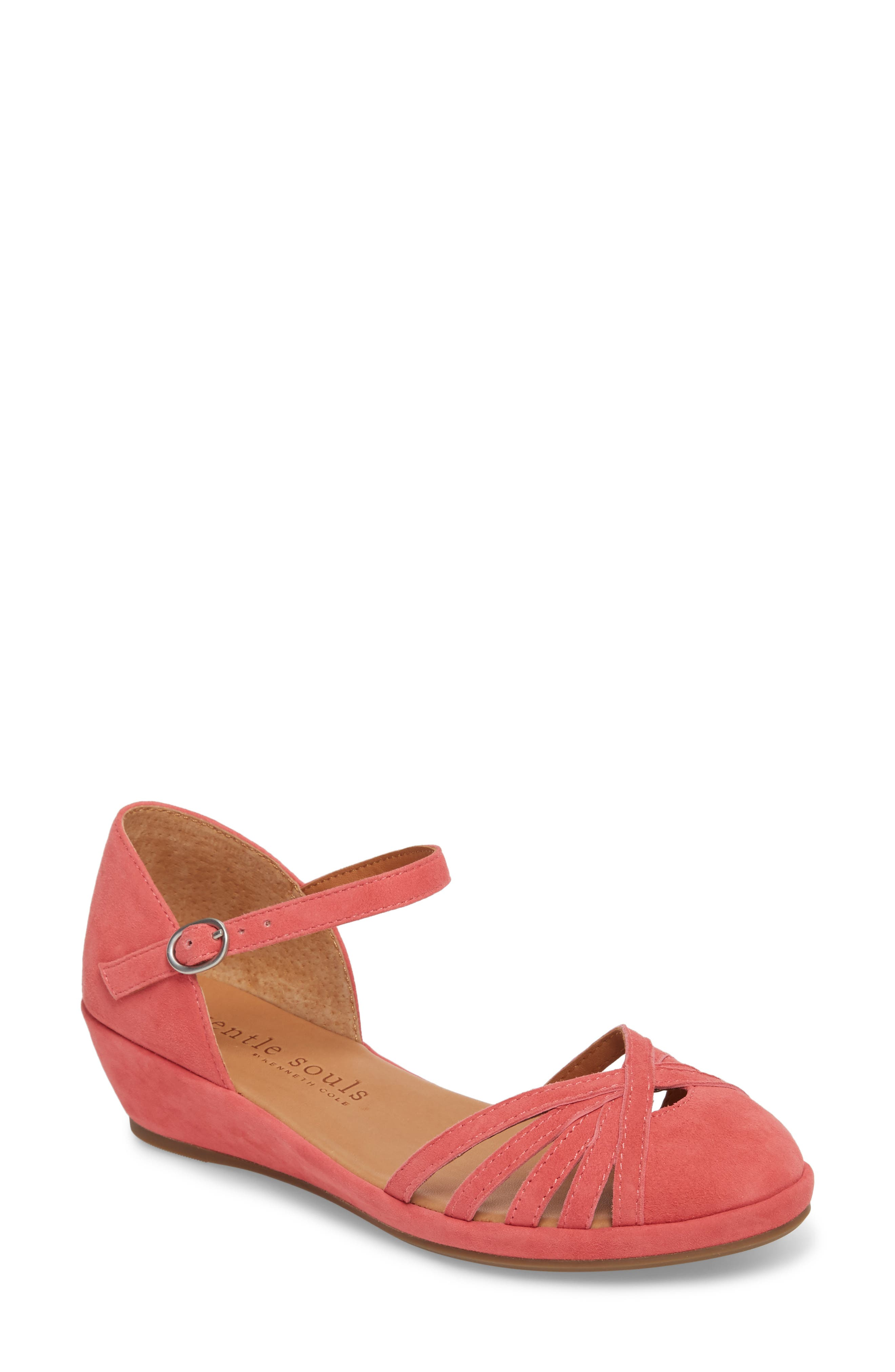 by Kenneth Cole Naira Wedge,                             Main thumbnail 1, color,                             Coral Suede