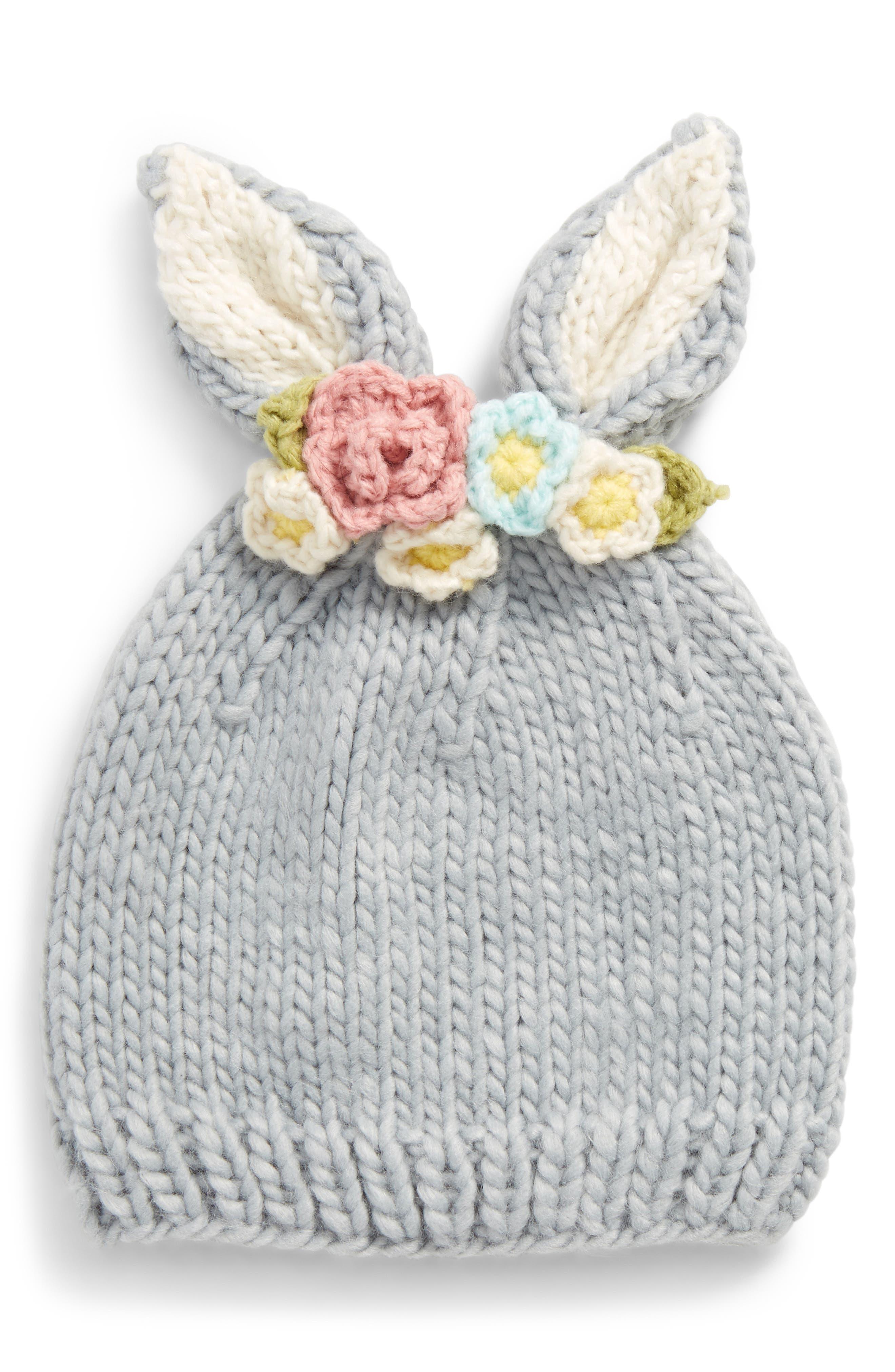 Floral Appliqué Bunny Hat,                             Main thumbnail 1, color,                             Bailey