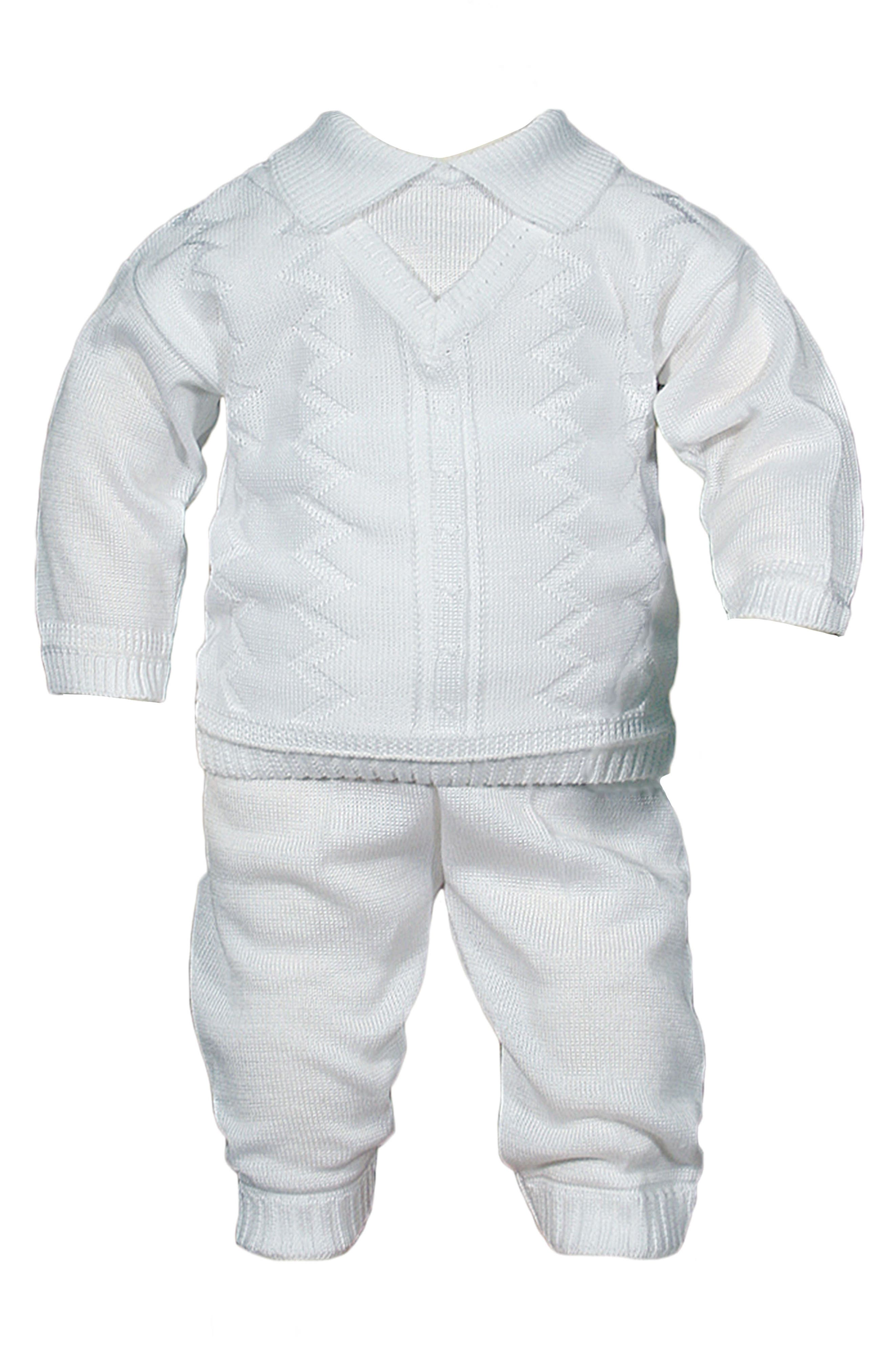 Alternate Image 1 Selected - Little Things Mean A Lot Knit Shirt & Pants Set (Baby Boys)