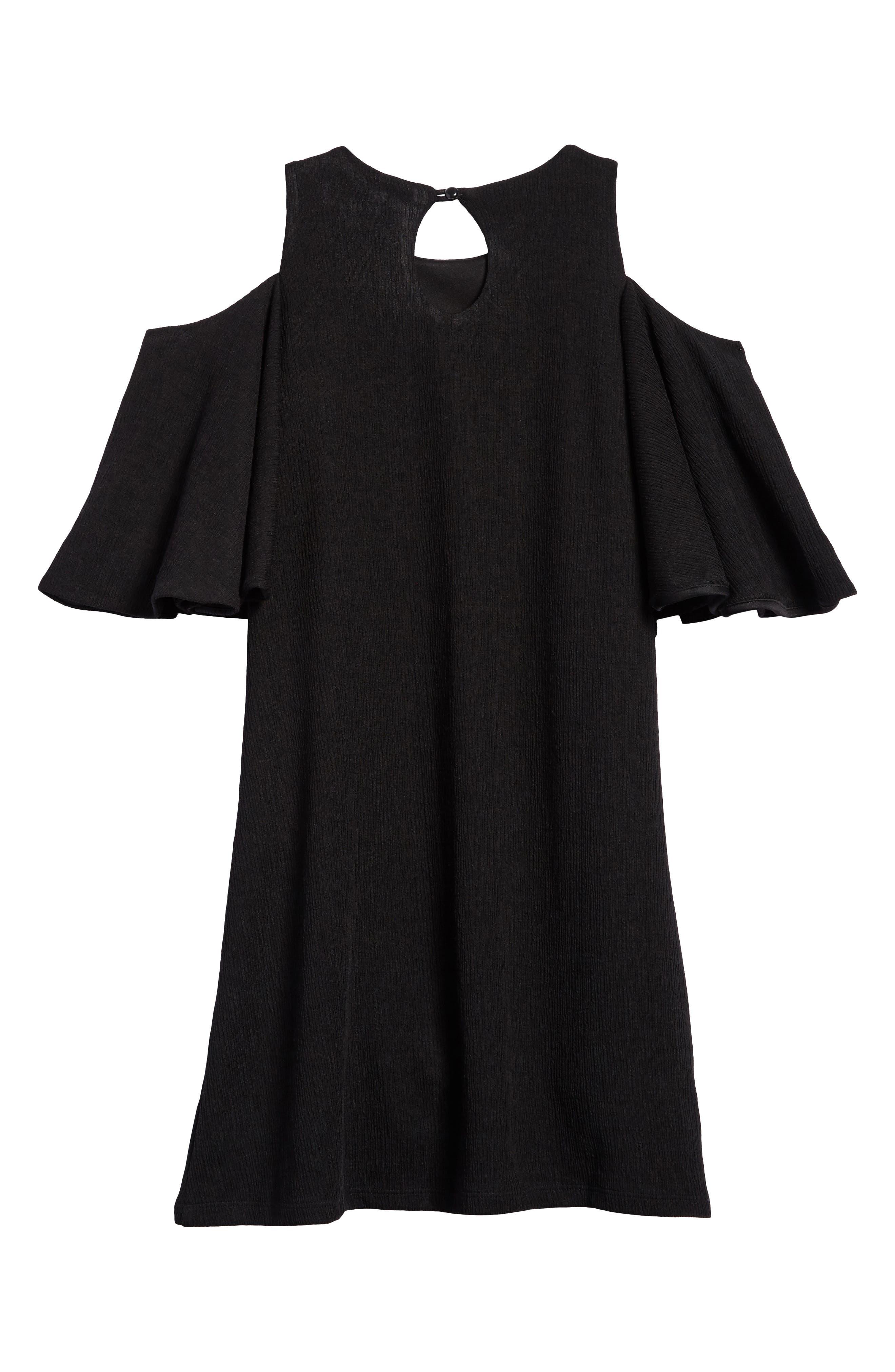 Bell Sleeve A-Line Dress,                             Alternate thumbnail 2, color,                             Black