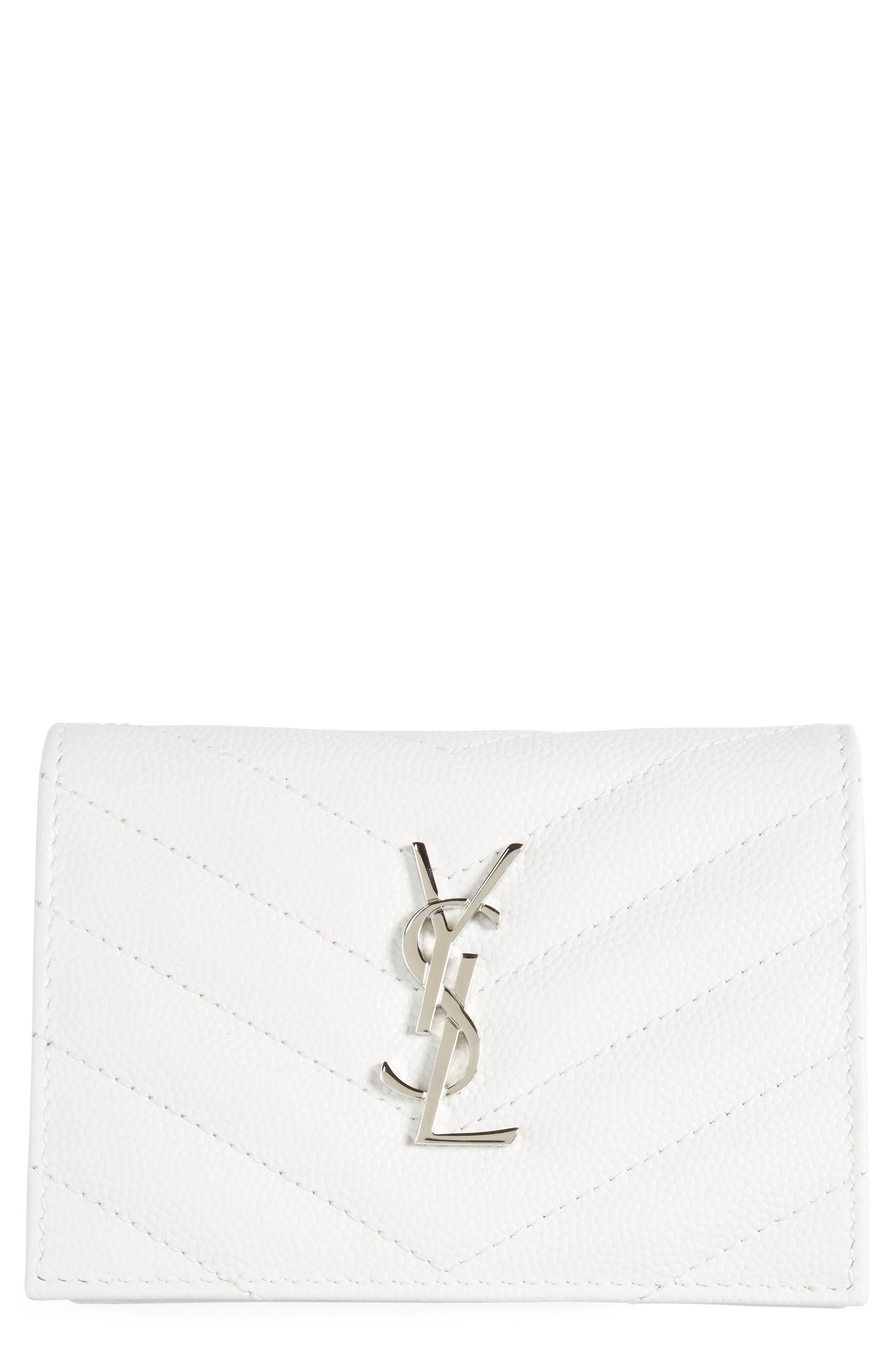 Main Image - Saint Laurent Textured Leather Card Case