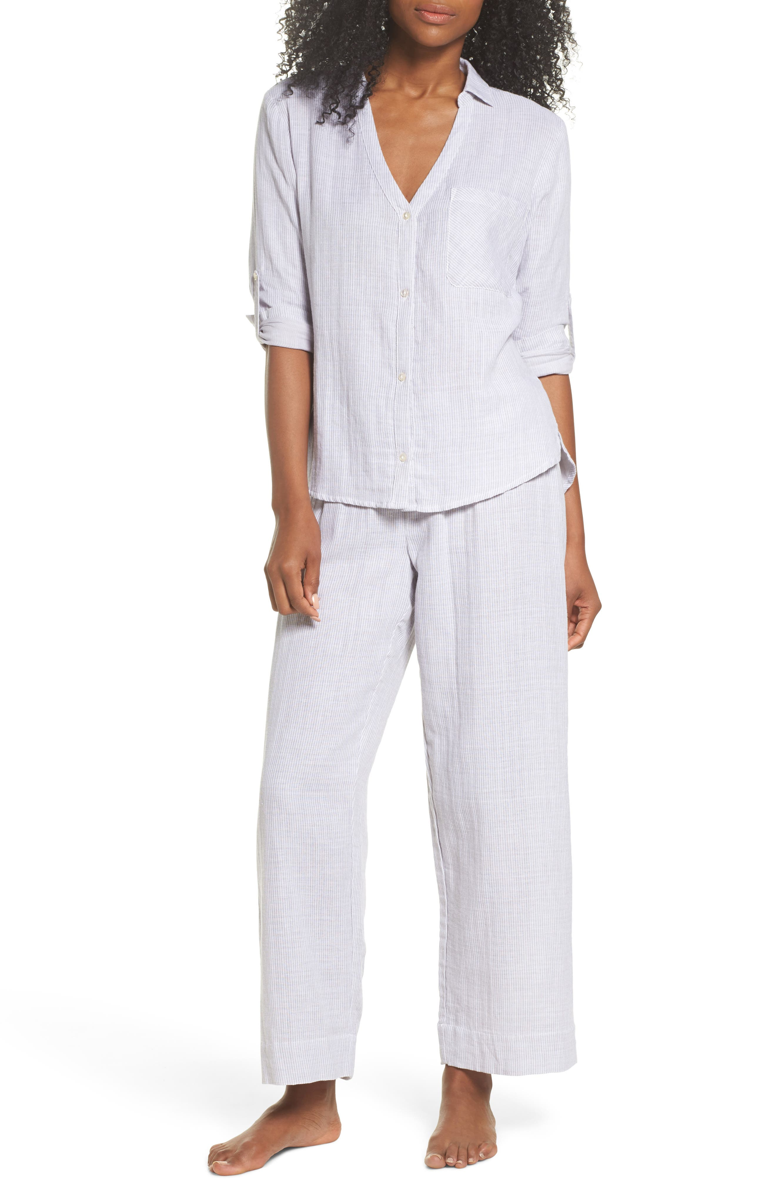 Stripe Pajama Pants,                             Alternate thumbnail 5, color,                             Grey/ White
