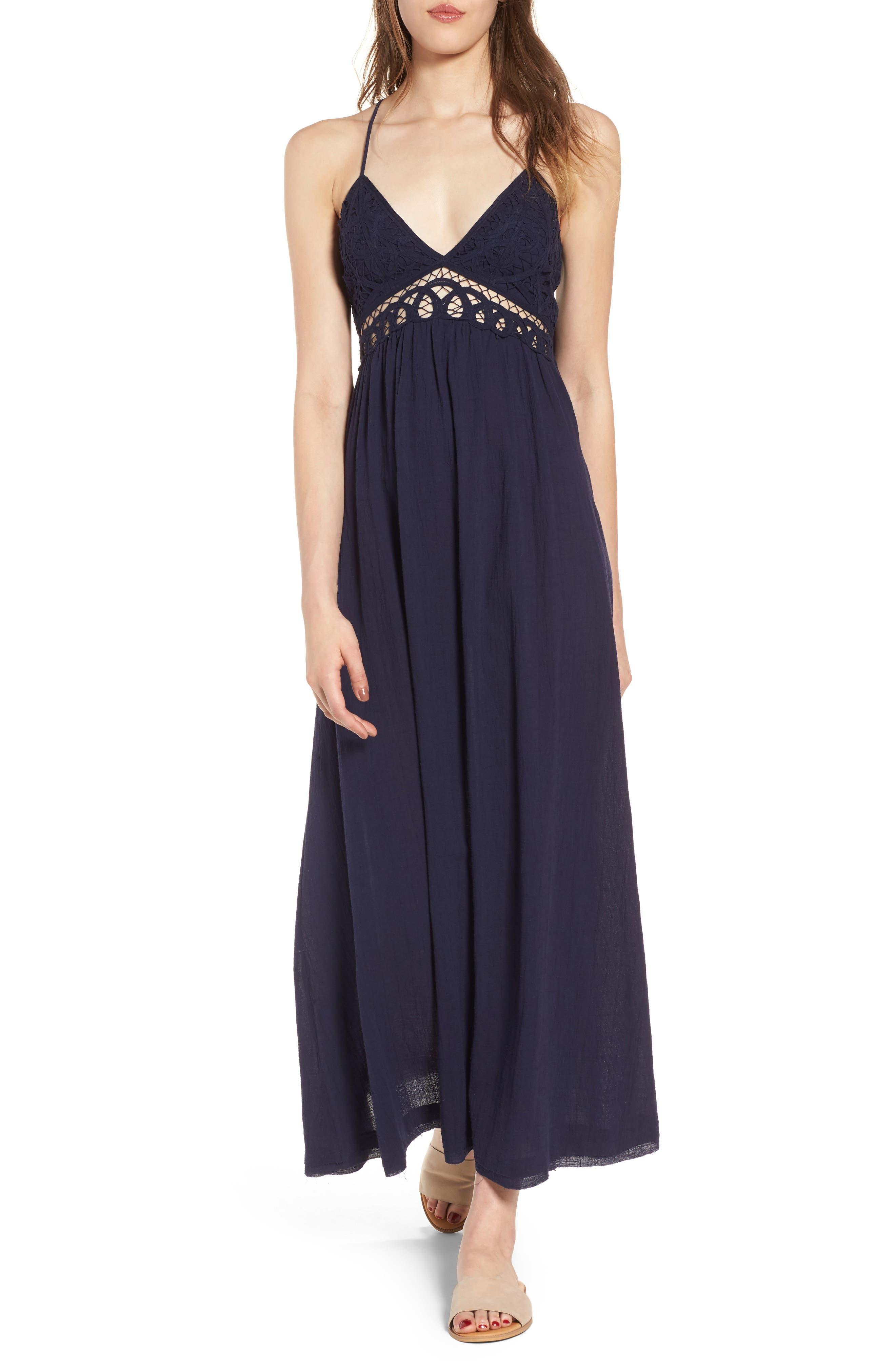 Main Image - Moon River Lace Inset Empire Waist Maxi Dress