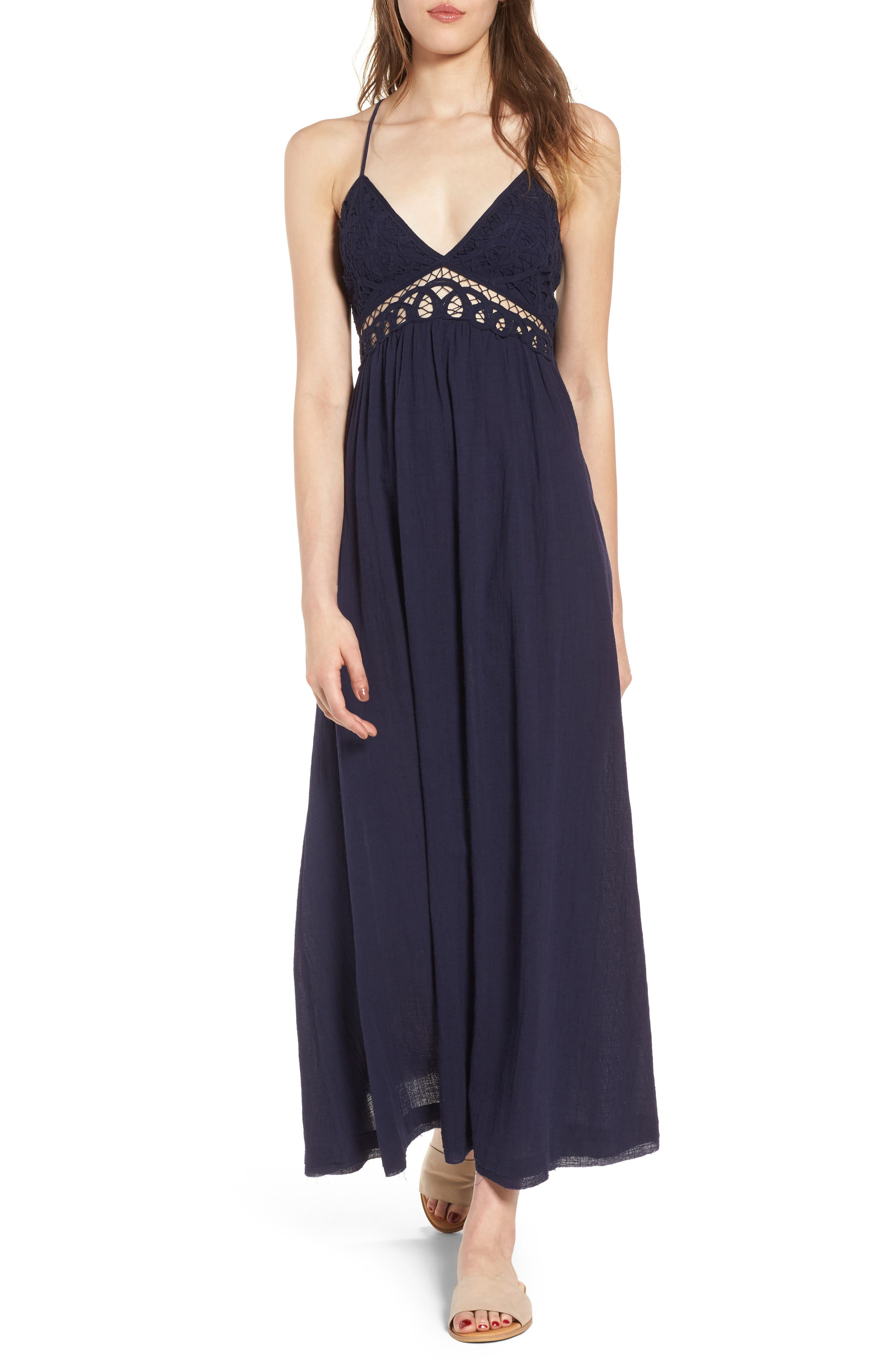 Lace Inset Empire Waist Maxi Dress,                         Main,                         color, Navy