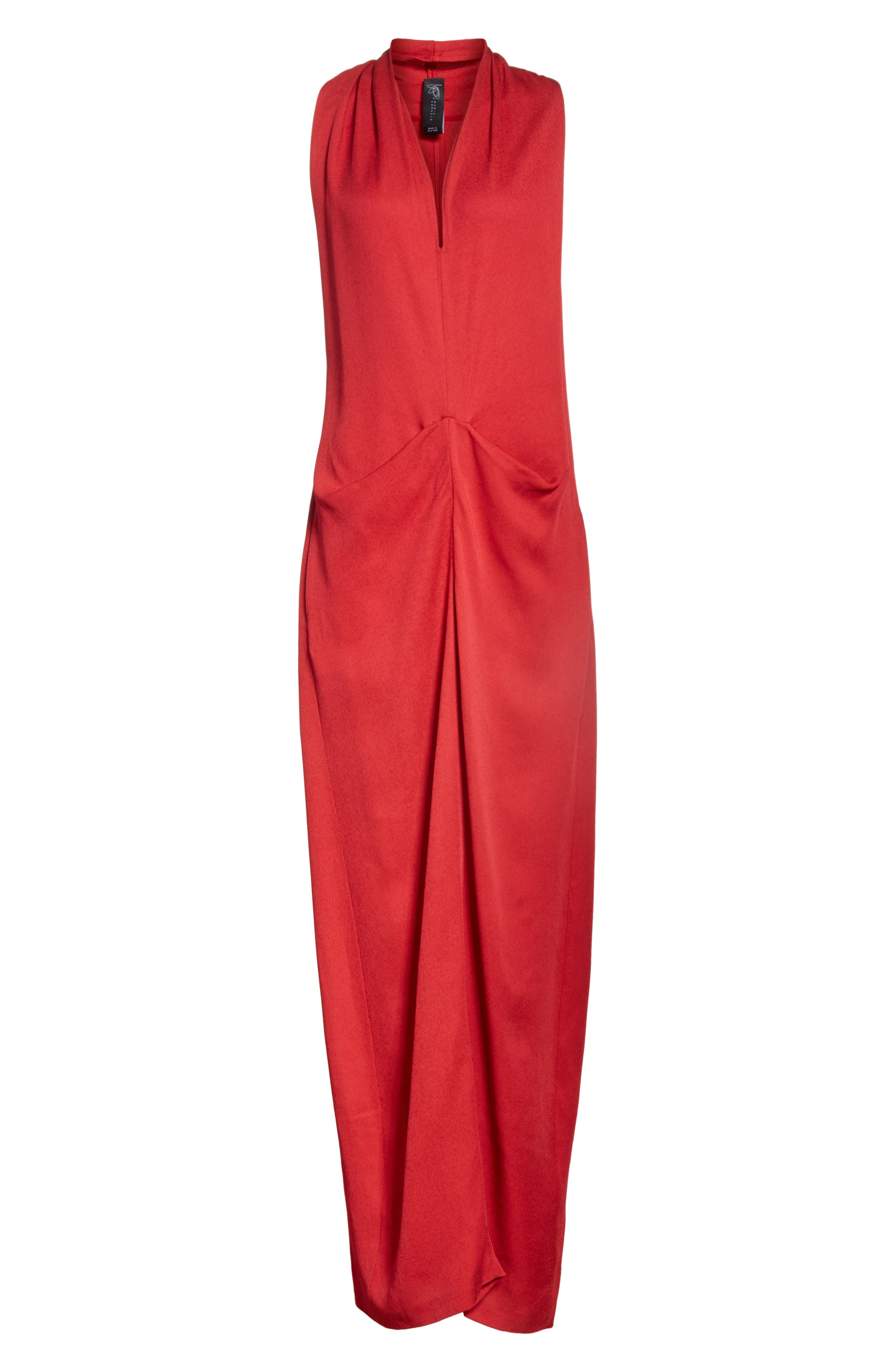Eco Gathered Maxi Dress,                             Alternate thumbnail 7, color,                             Poppy
