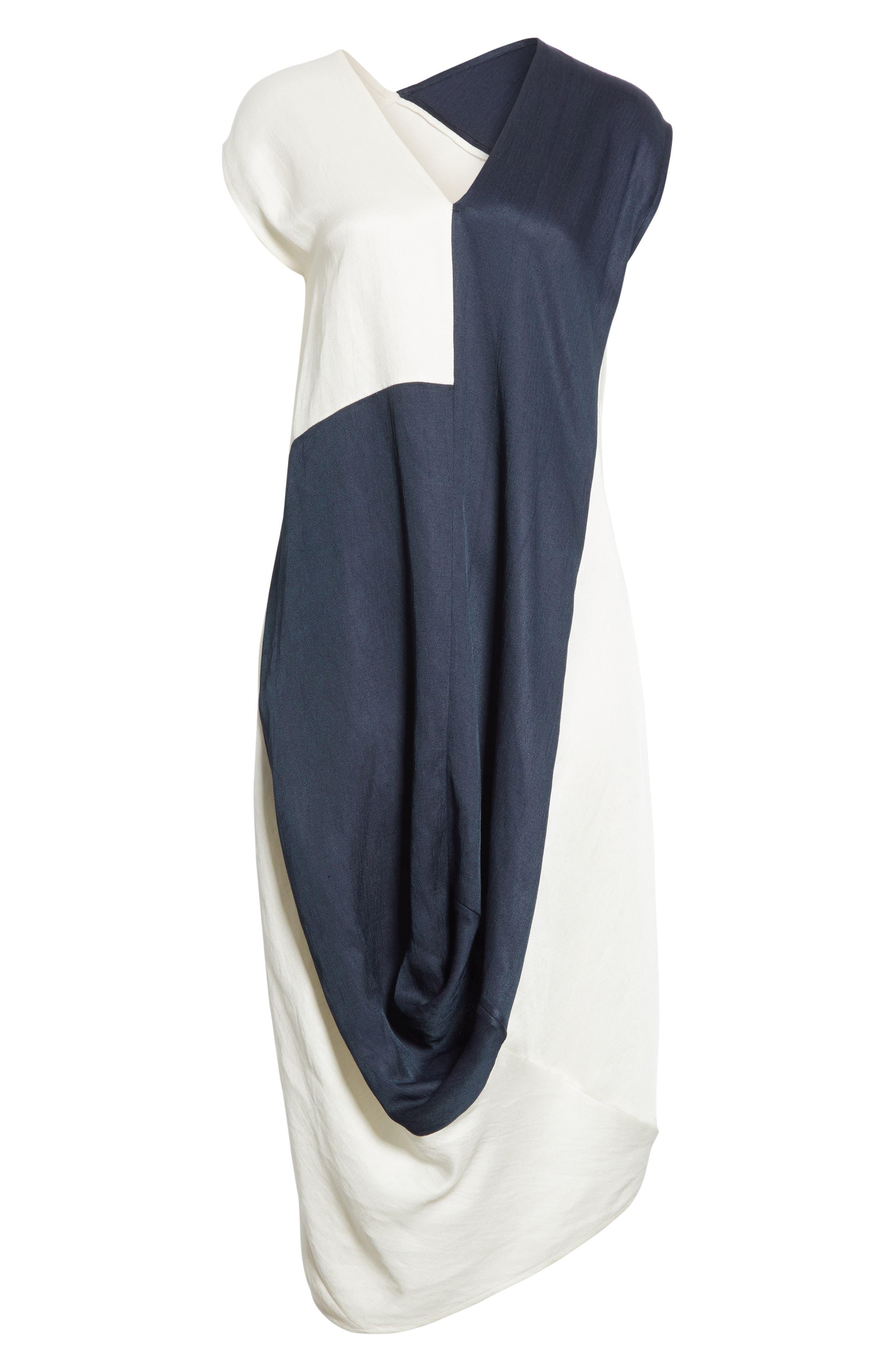 Colorblock Drape Dress,                             Alternate thumbnail 7, color,                             Ink/ White Pepper