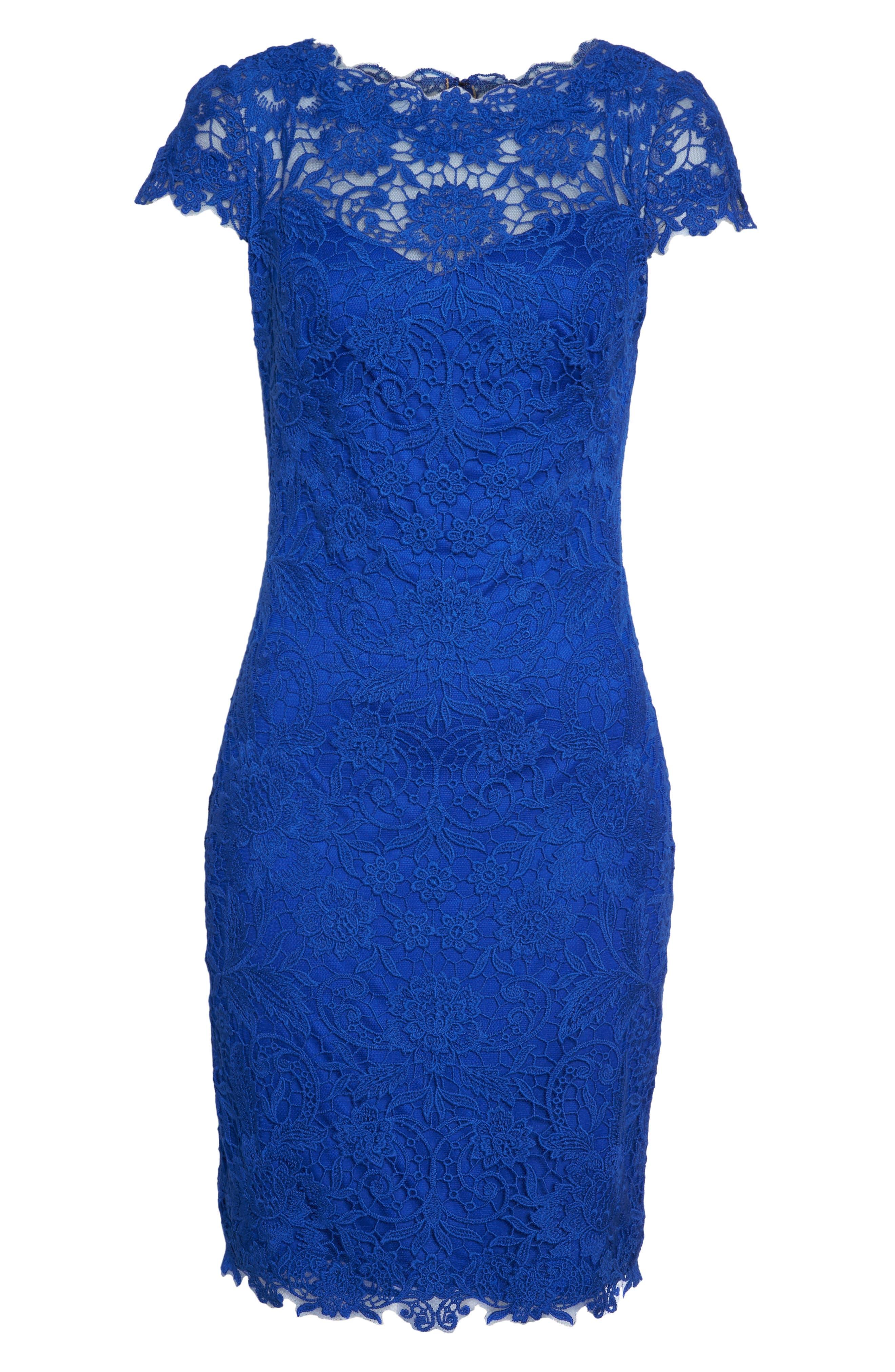 Crochet Sheath Dress,                             Alternate thumbnail 6, color,                             Horizon Blue