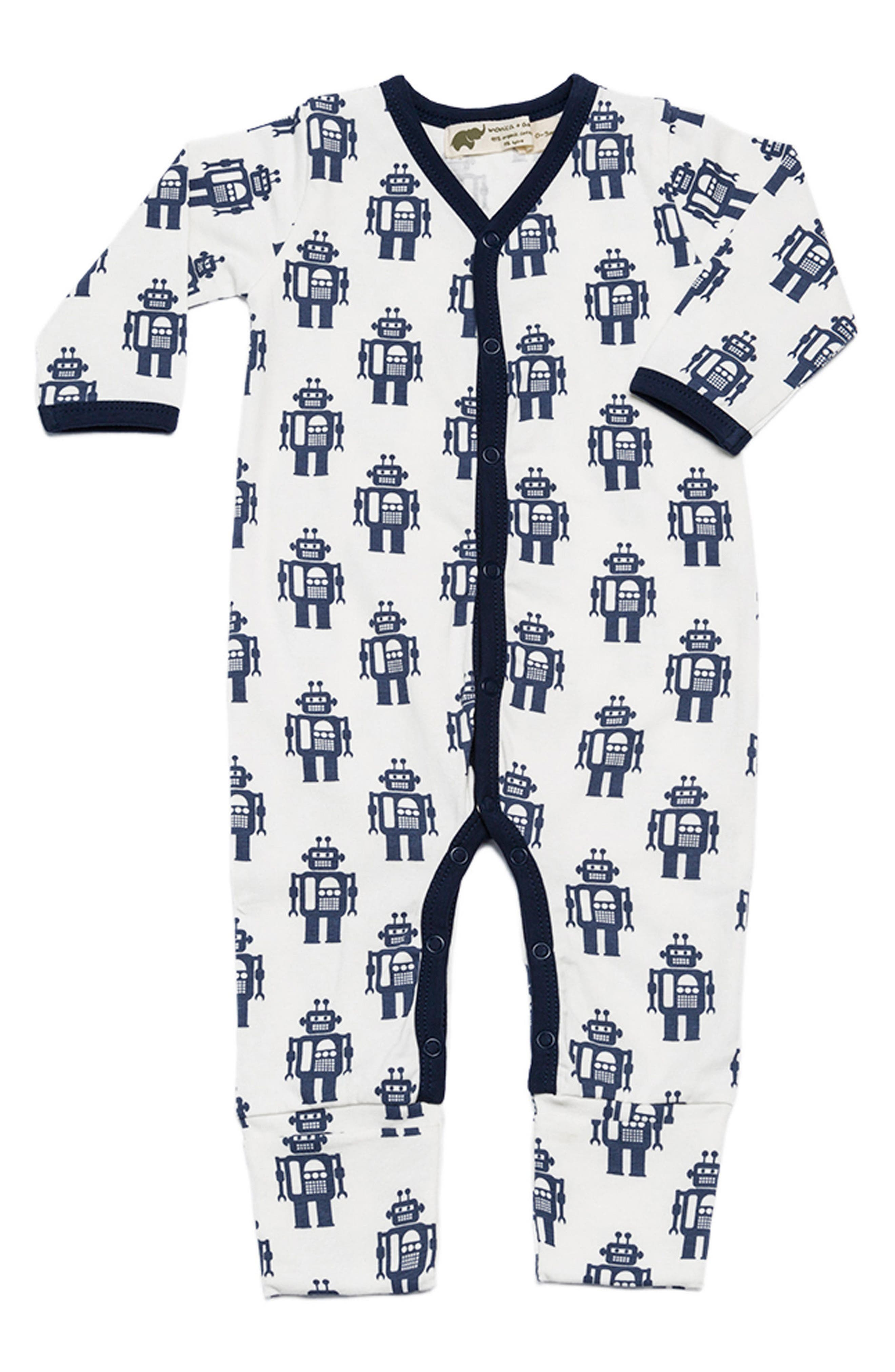 Main Image - Monica + Andy On the Go One-Piece Romper (Baby Boys)