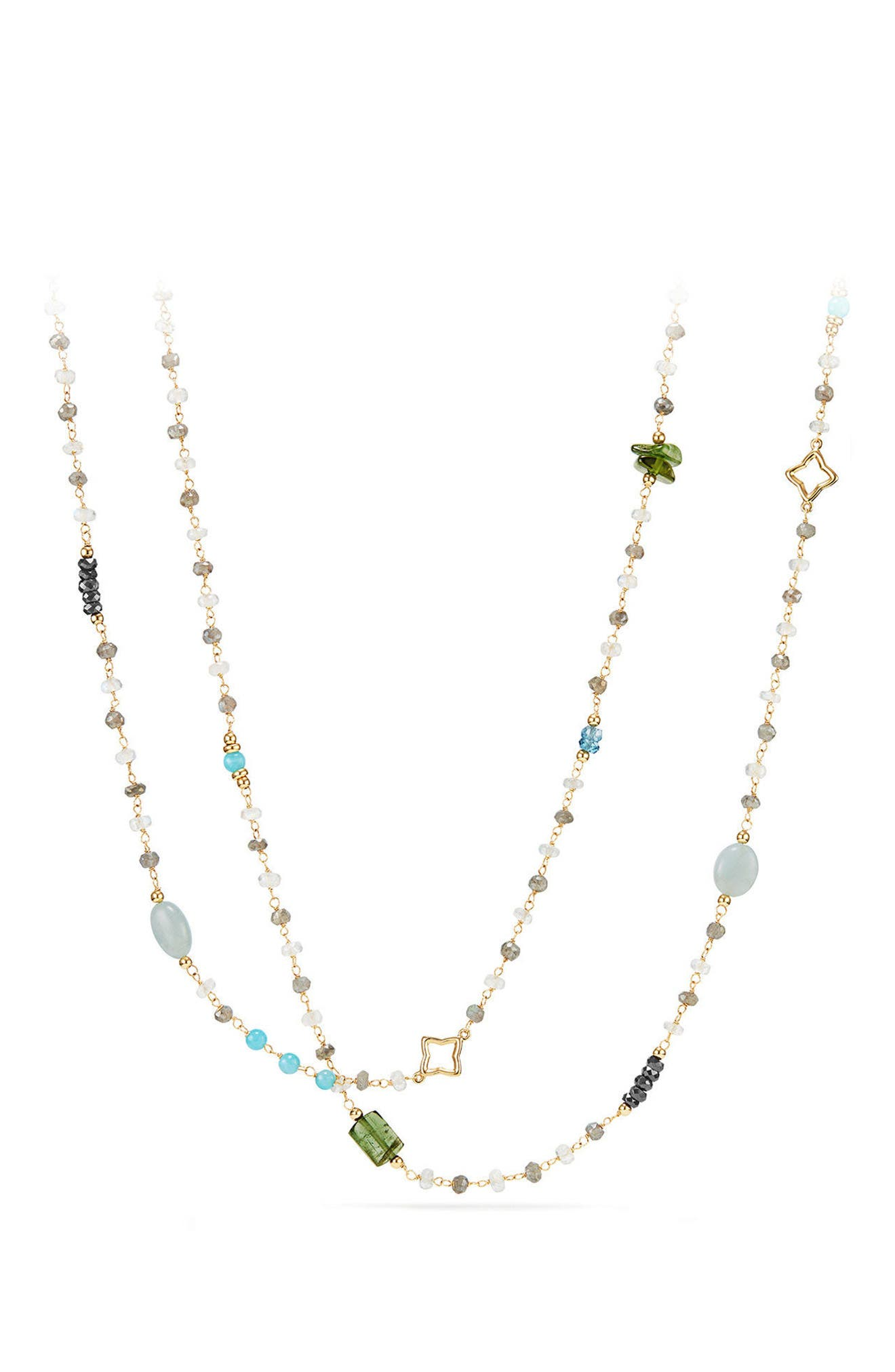 David Yurman Long Bead & Chain Necklace with Semiprecious Stones in 18K Gold