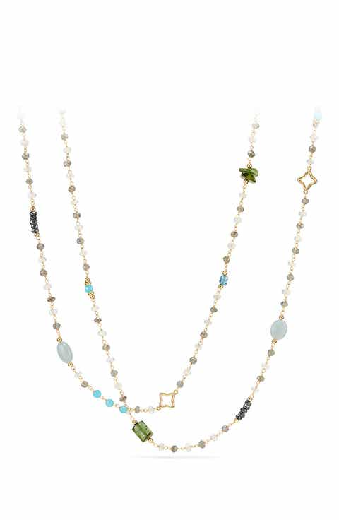 David Yurman Long Bead Chain Necklace With Semiprecious Stones In 18k Gold
