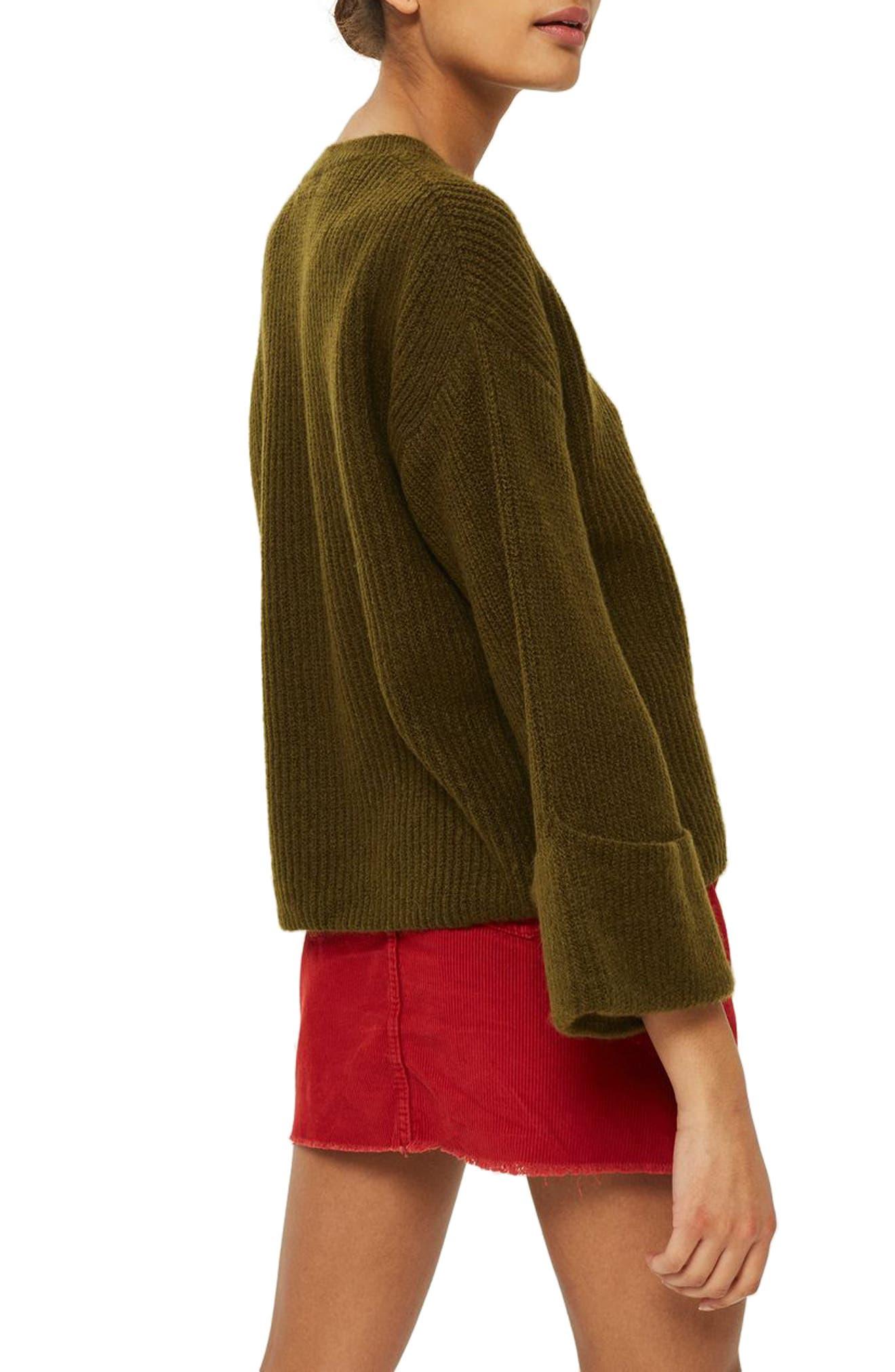 Alternate Image 2  - Topshop Velvet Ribbon Cuffed Sweater