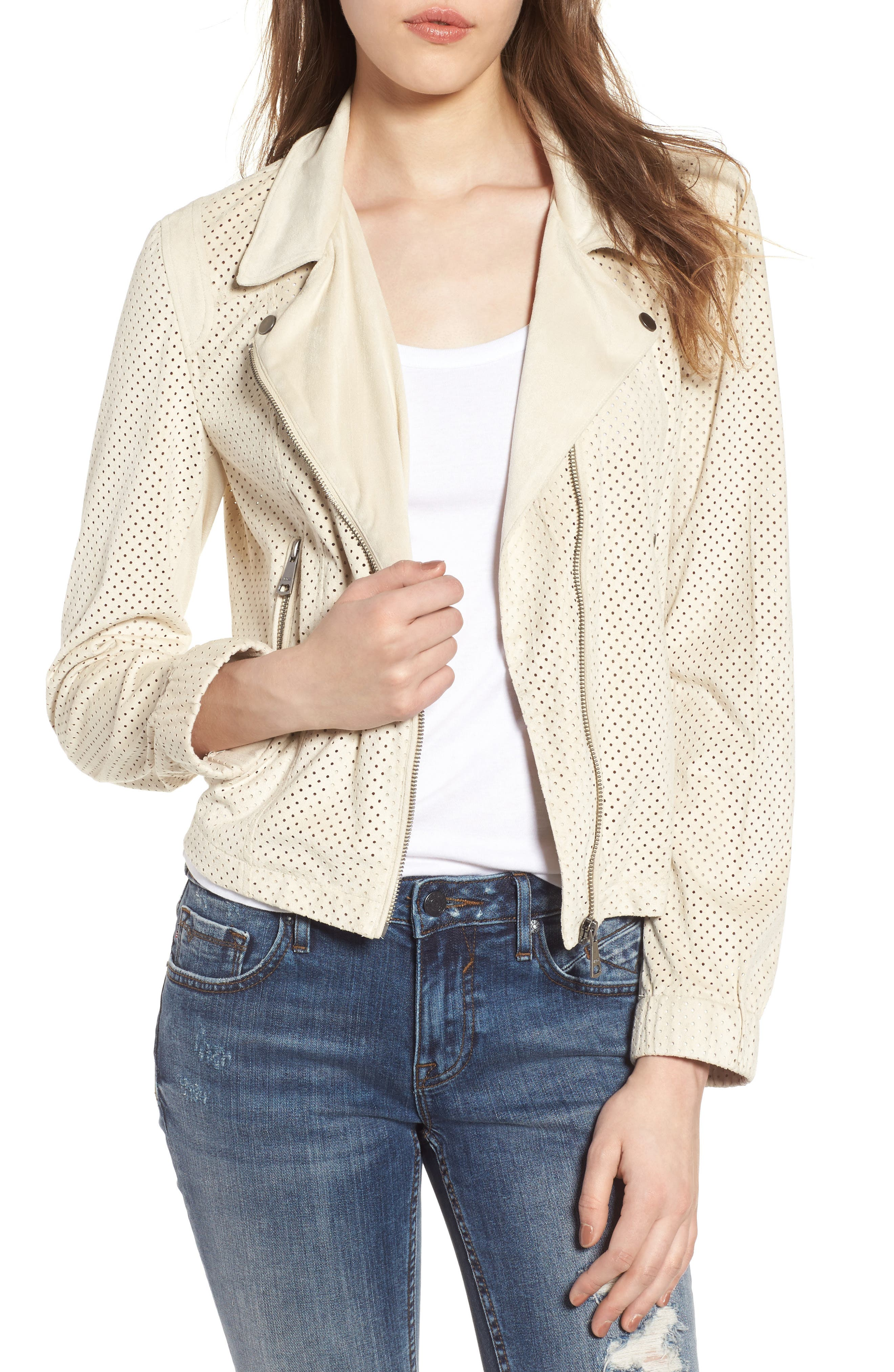 Vigoss Perforated Faux Suede Moto Jacket