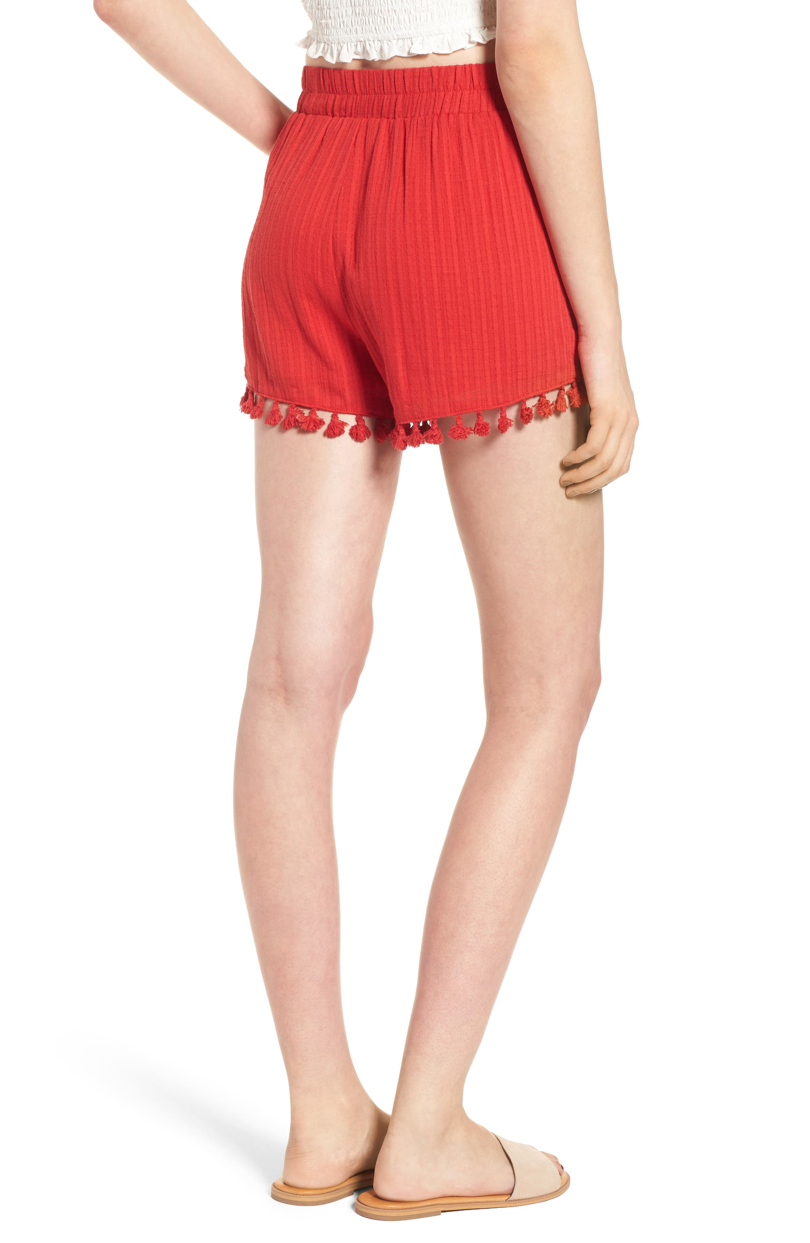 Pompom Trim Shorts,                             Alternate thumbnail 3, color,                             Red