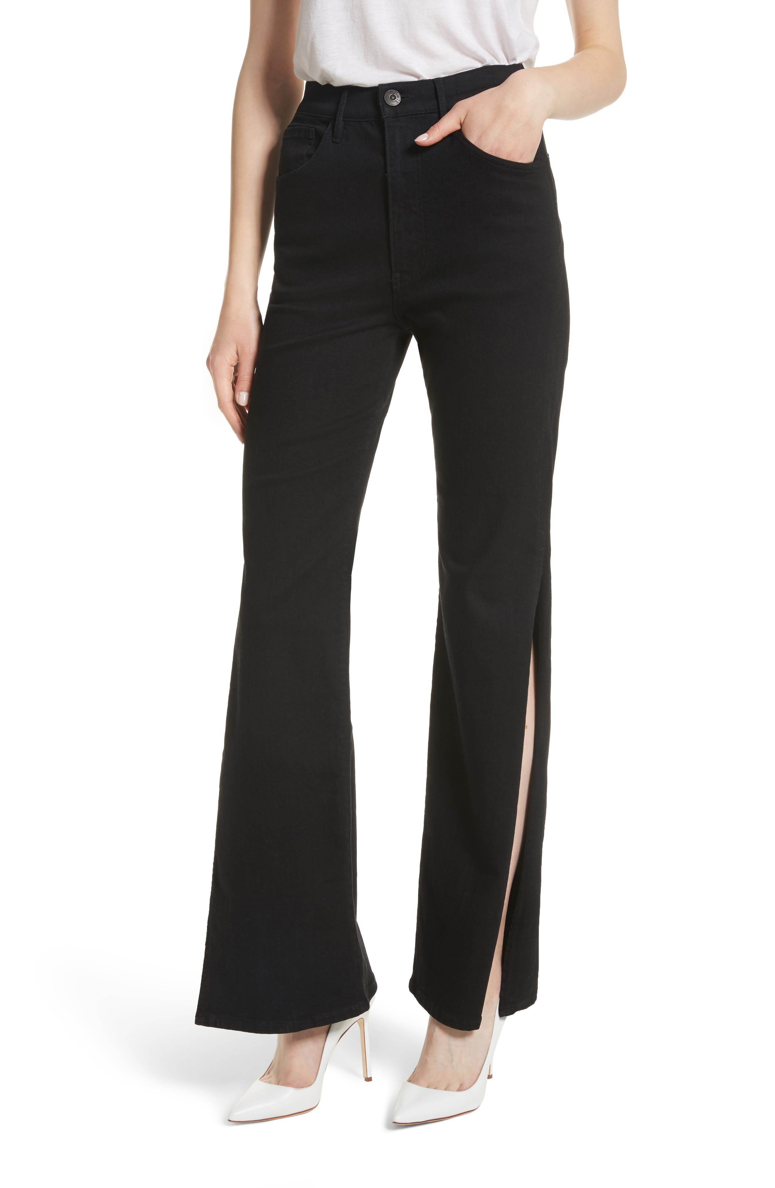 W4 Adeline High Waist Split Flare Jeans,                         Main,                         color, Black No 1