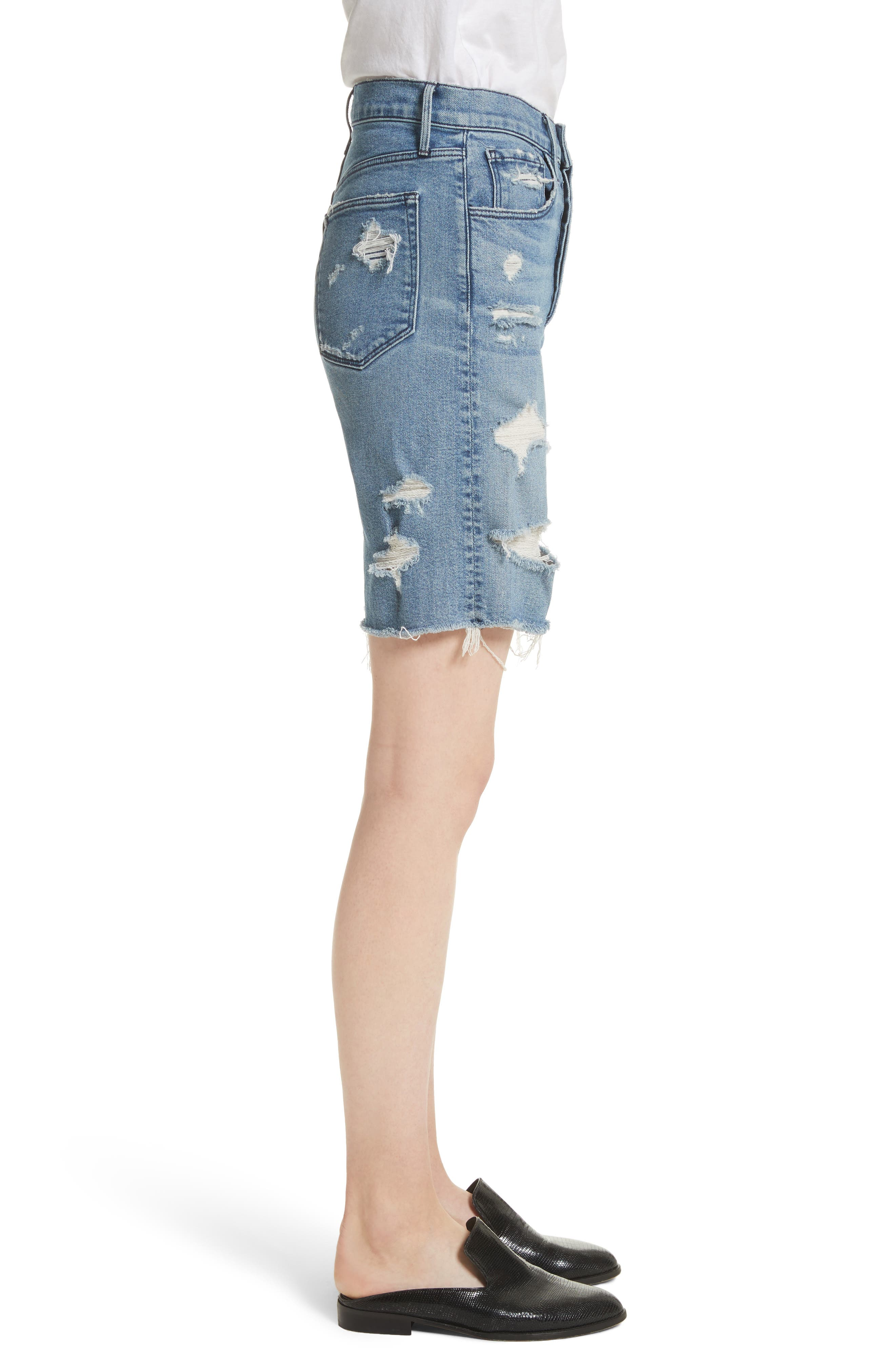 W3 Ryder Ripped Denim Shorts,                             Alternate thumbnail 3, color,                             Sutra