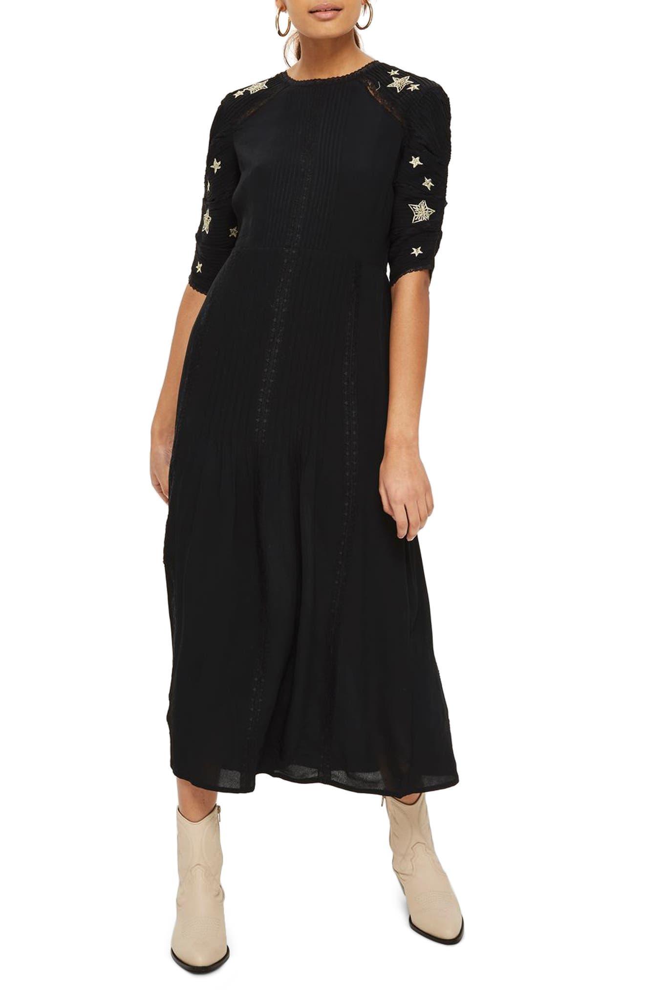 Star Embroidered Midi Dress,                         Main,                         color, Black Multi