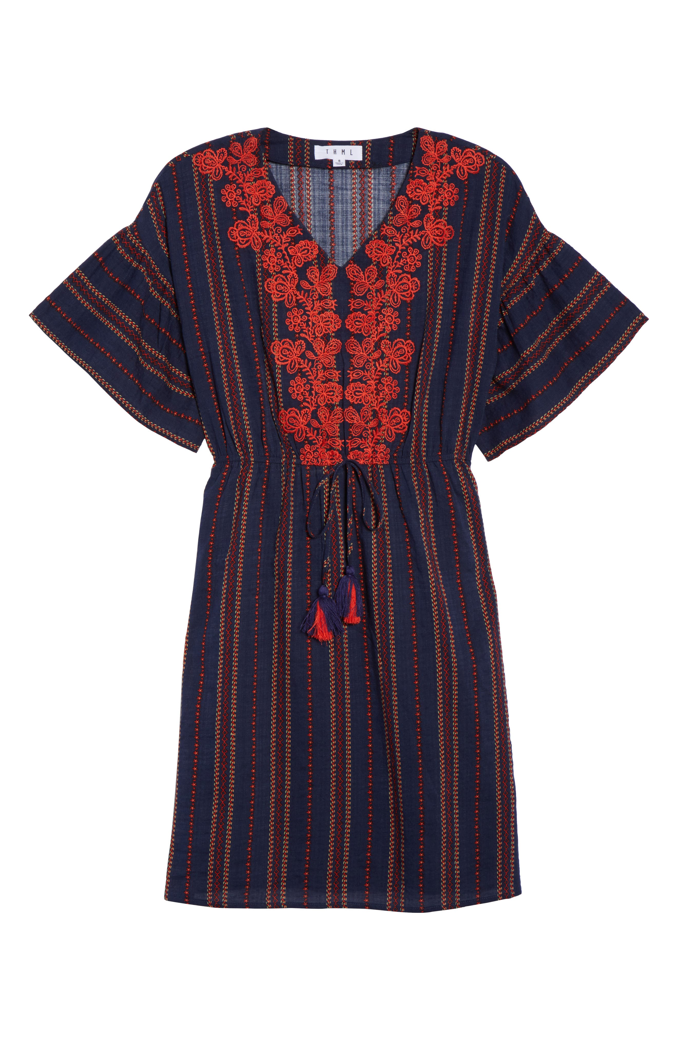 Embroidered A-Line Dress,                             Alternate thumbnail 6, color,                             Navy