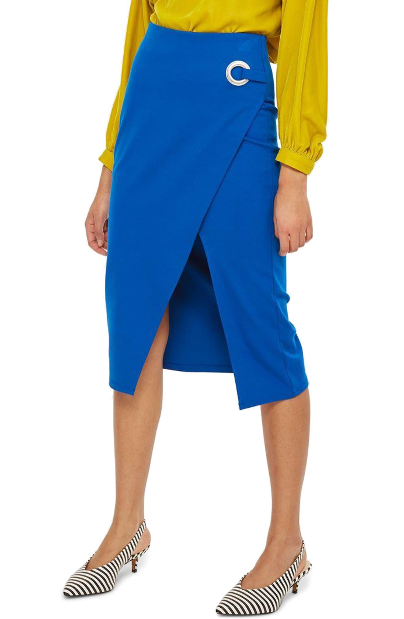 Eyelet Detail Wrap Jersey Skirt,                             Main thumbnail 1, color,                             Cobalt