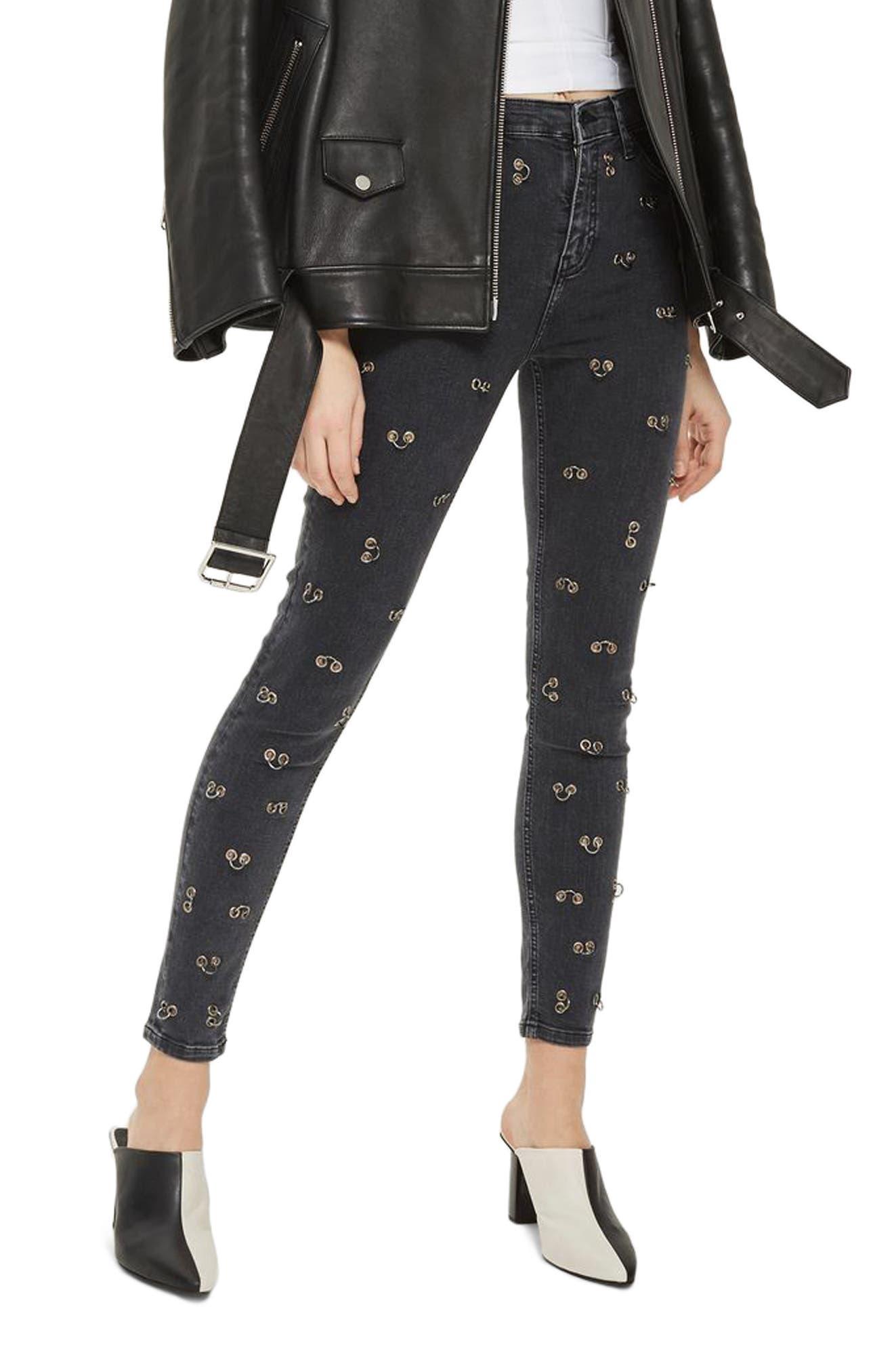Main Image - Topshop Jamie Pierced Stretch Skinny Jeans