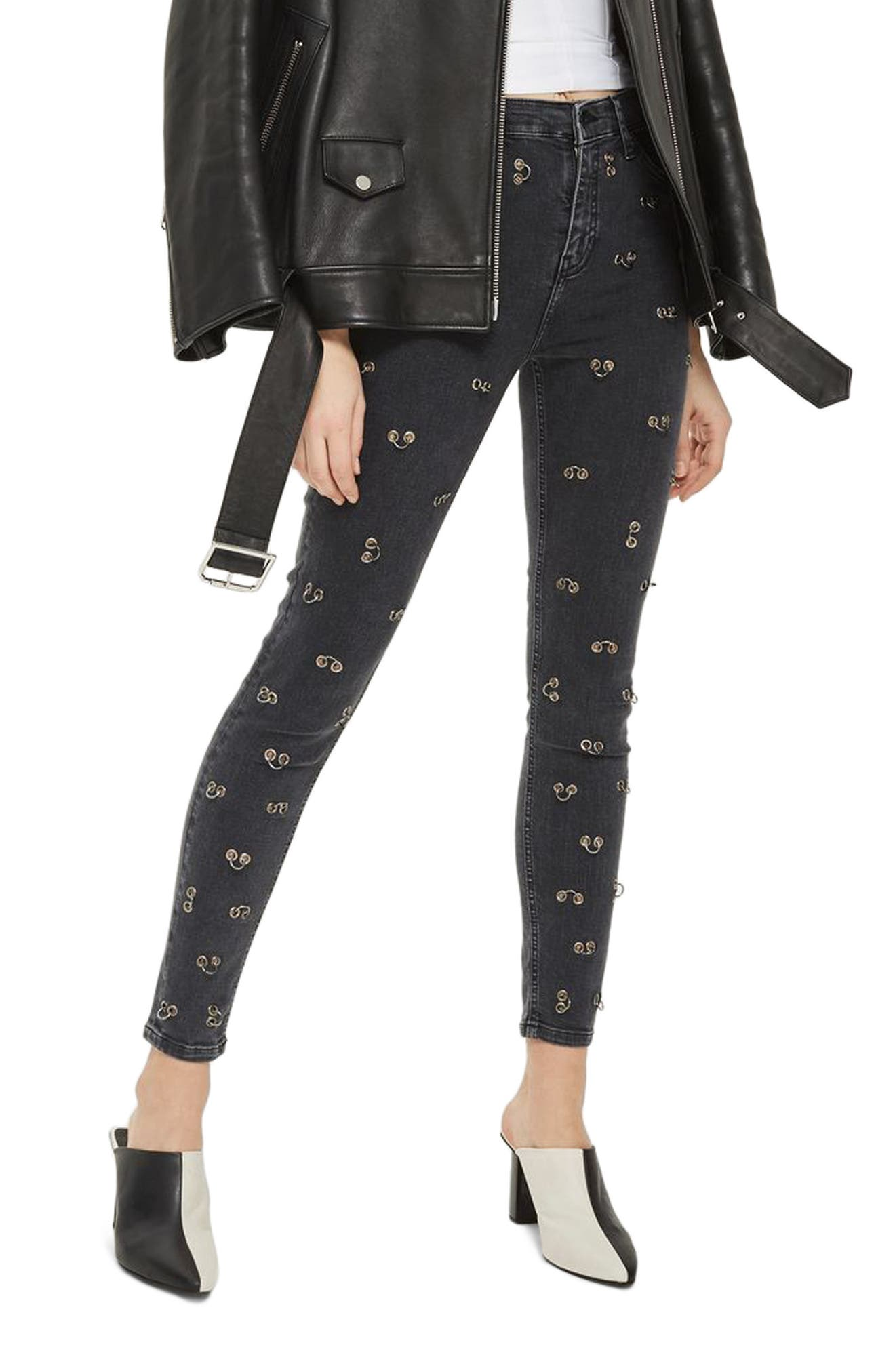 Jamie Pierced Stretch Skinny Jeans,                         Main,                         color, Washed Black