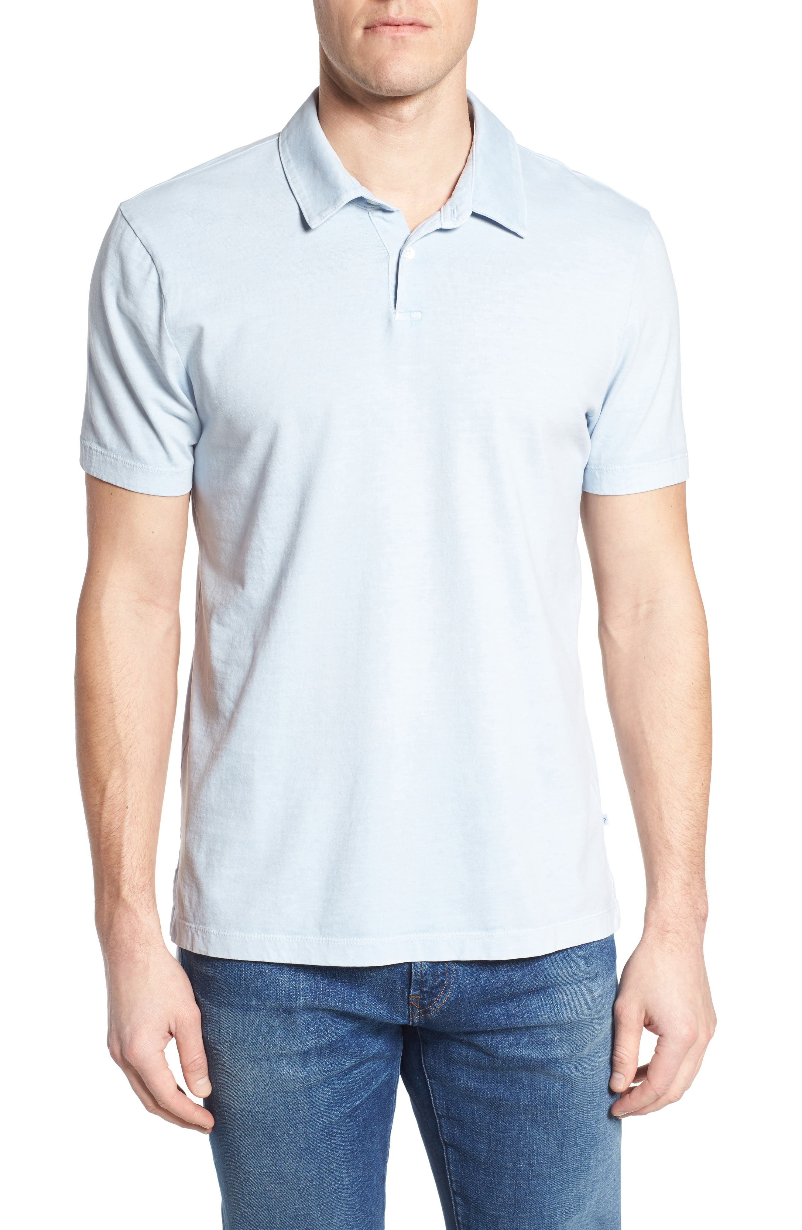 Slim Fit Sueded Jersey Polo,                             Main thumbnail 1, color,                             Baby Blue Pigment