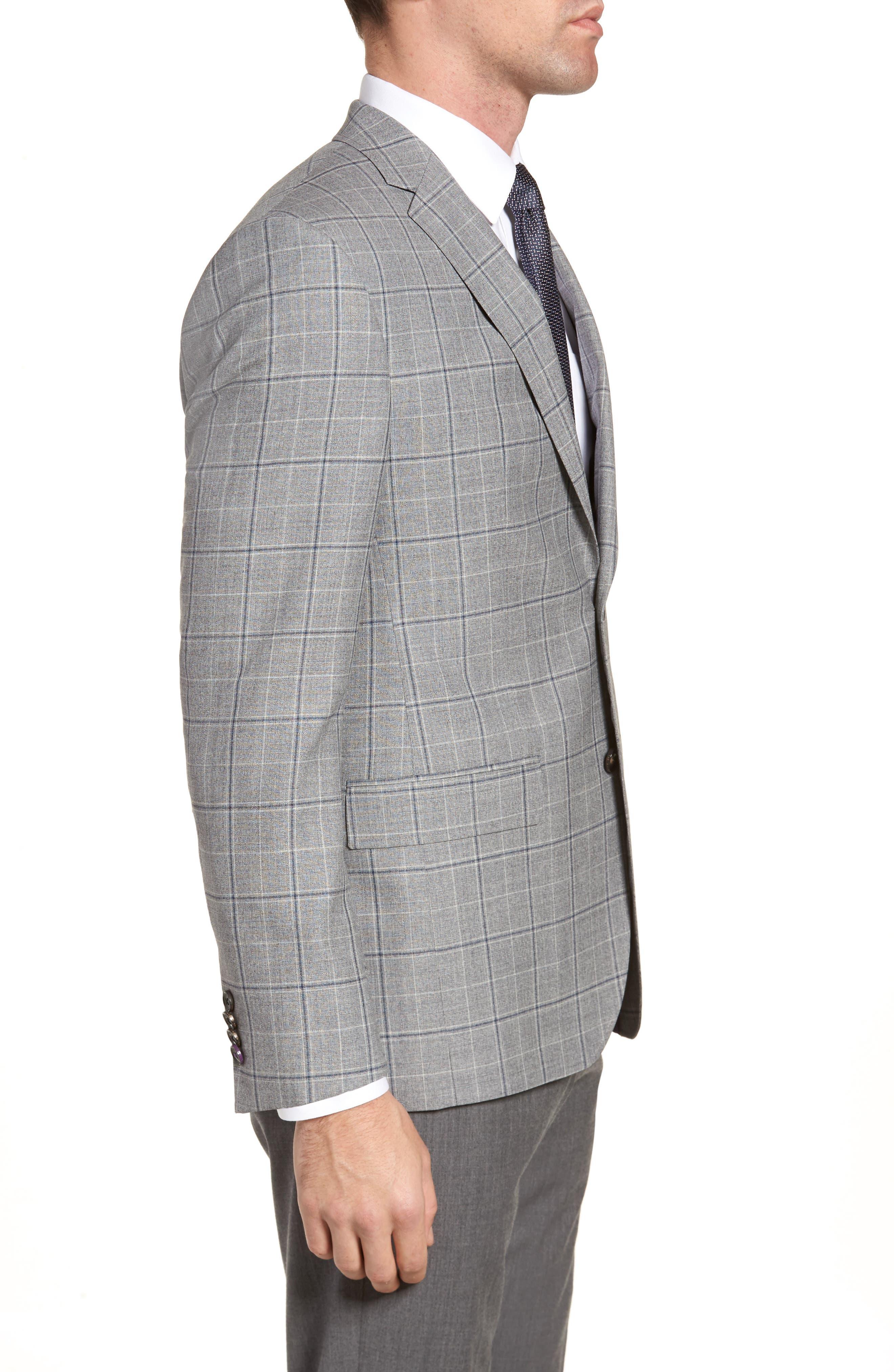 Jay Trim Fit Plaid Wool Sport Coat,                             Alternate thumbnail 3, color,                             Light Grey